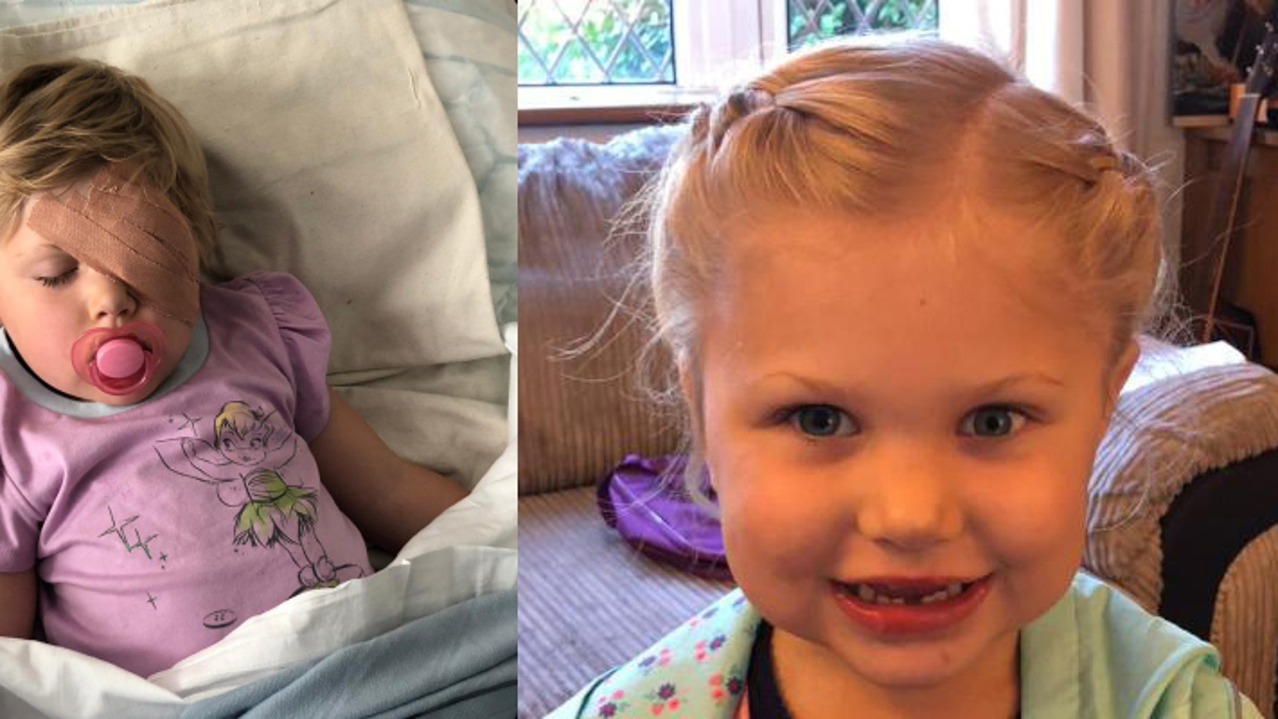 Alice Taylor, 2, was diagnosed with a rare eye cancer shortly after playing a game of pirates with her mom.