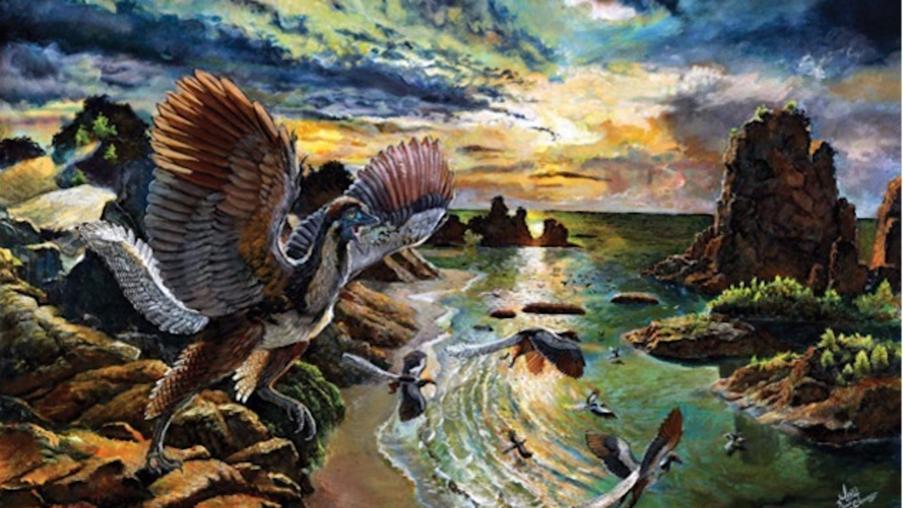 This illustration shows what <i>Archaeopteryx albersdoerferi</i> may have looked like during its heyday, about 150 million years ago.