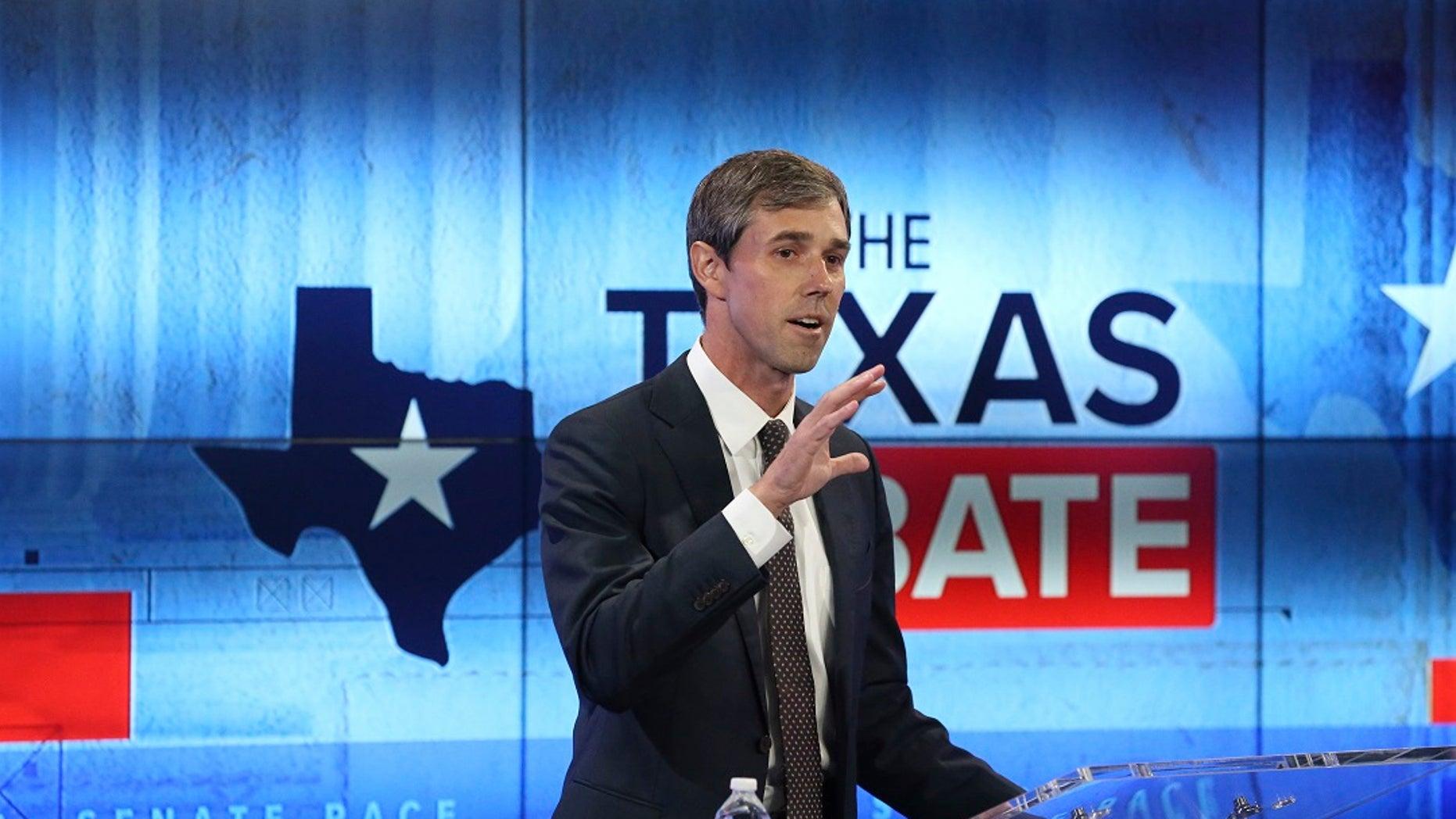 U.S. Rep. Beto O'Rourke, D-Texas, pictured, takes part in a debate for a U.S. Senate seat against incumbent U.S. Sen. Ted Cruz, R-Texas.
