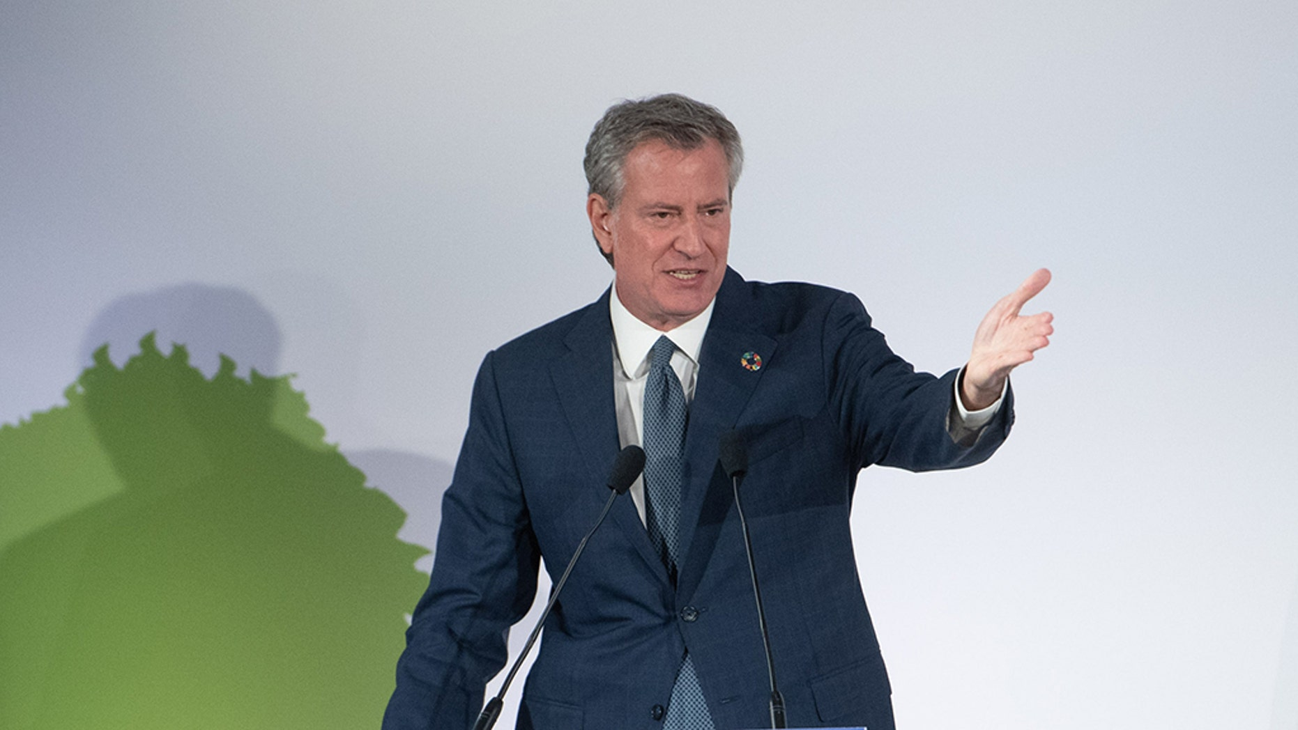Mayor de Blasio delivers remarks at the Opening Plenary of the World Economic Forum's Sustainable Development Impact Summit in Midtown Manhattan on Monday, September 24, 2018.