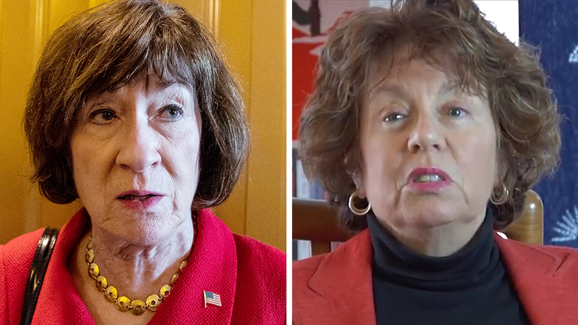 A course offering credits to students who protested Sen. Susan Collins, R- Maine, (left) was organized byDr. Susan Feiner (right), a former professor at the University of Southern Maine.