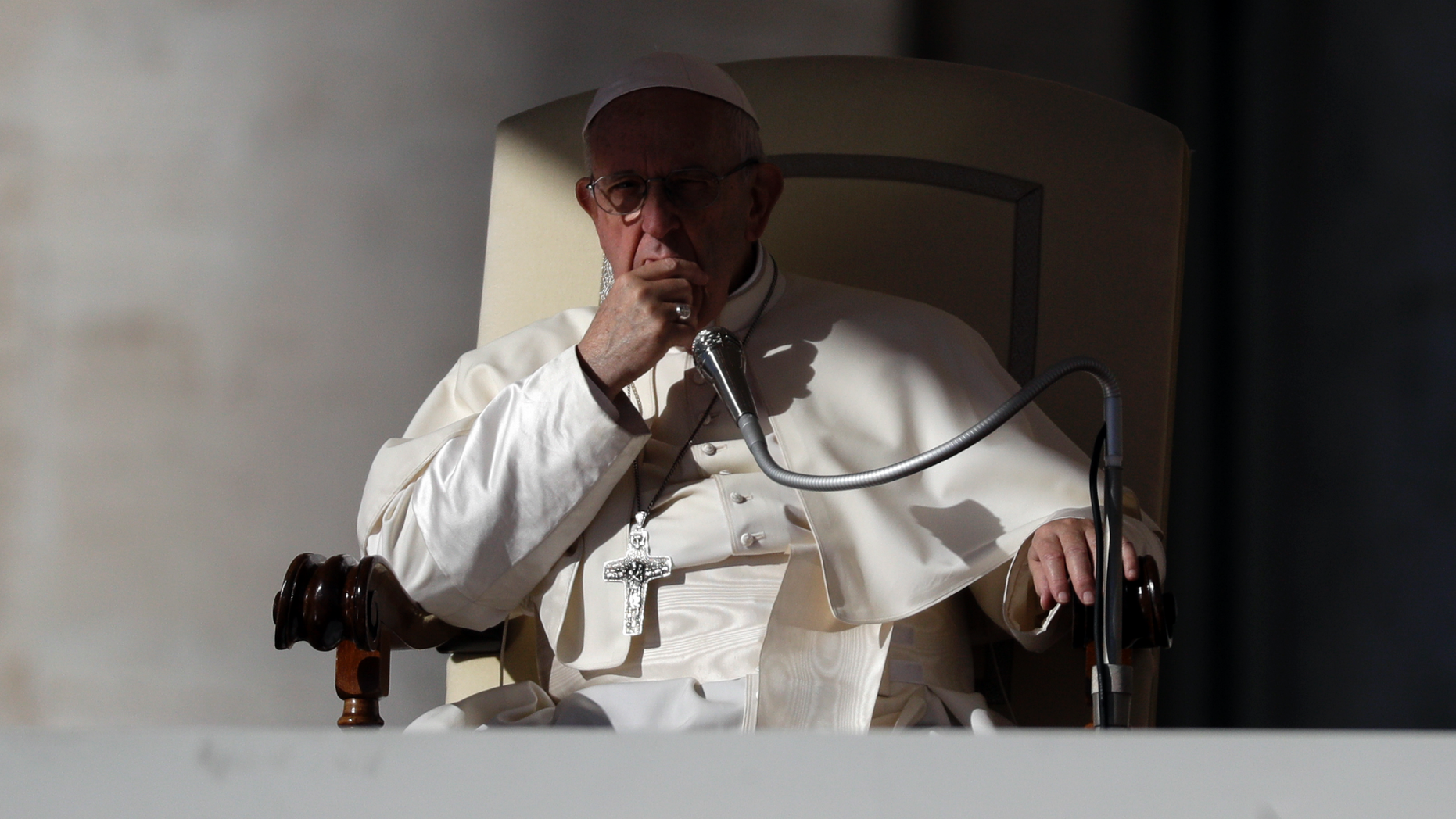 Pope Francis listens to the welcome speeches during his weekly general audience in St. Peter's Square at the Vatican, Wednesday, Oct. 24, 2018. (AP Photo/Gregorio Borgia)