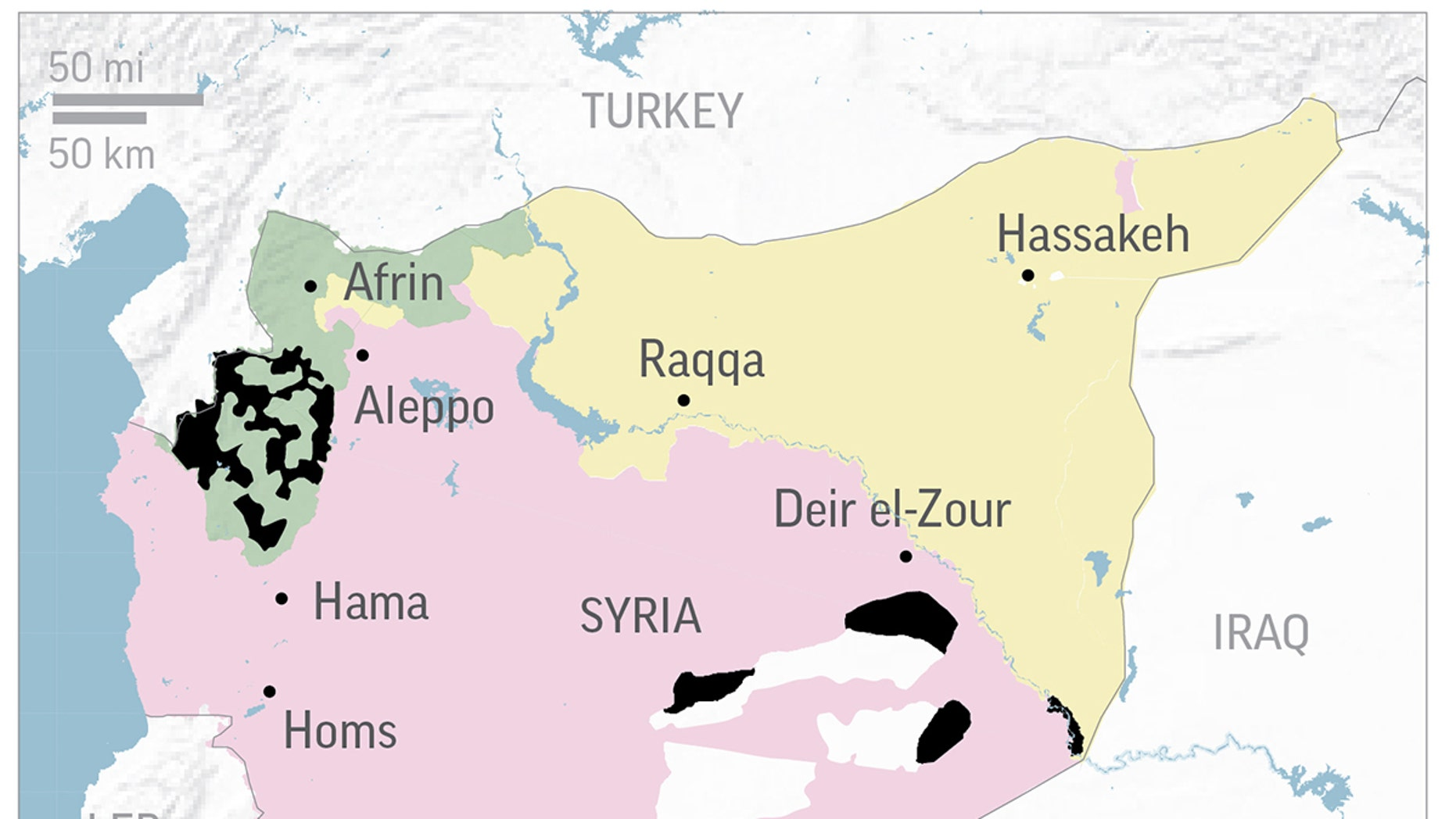 Map shows the latest areas of control by Pro-Assad, Kurdish, Islamic State and Free Syrian Army forces.
