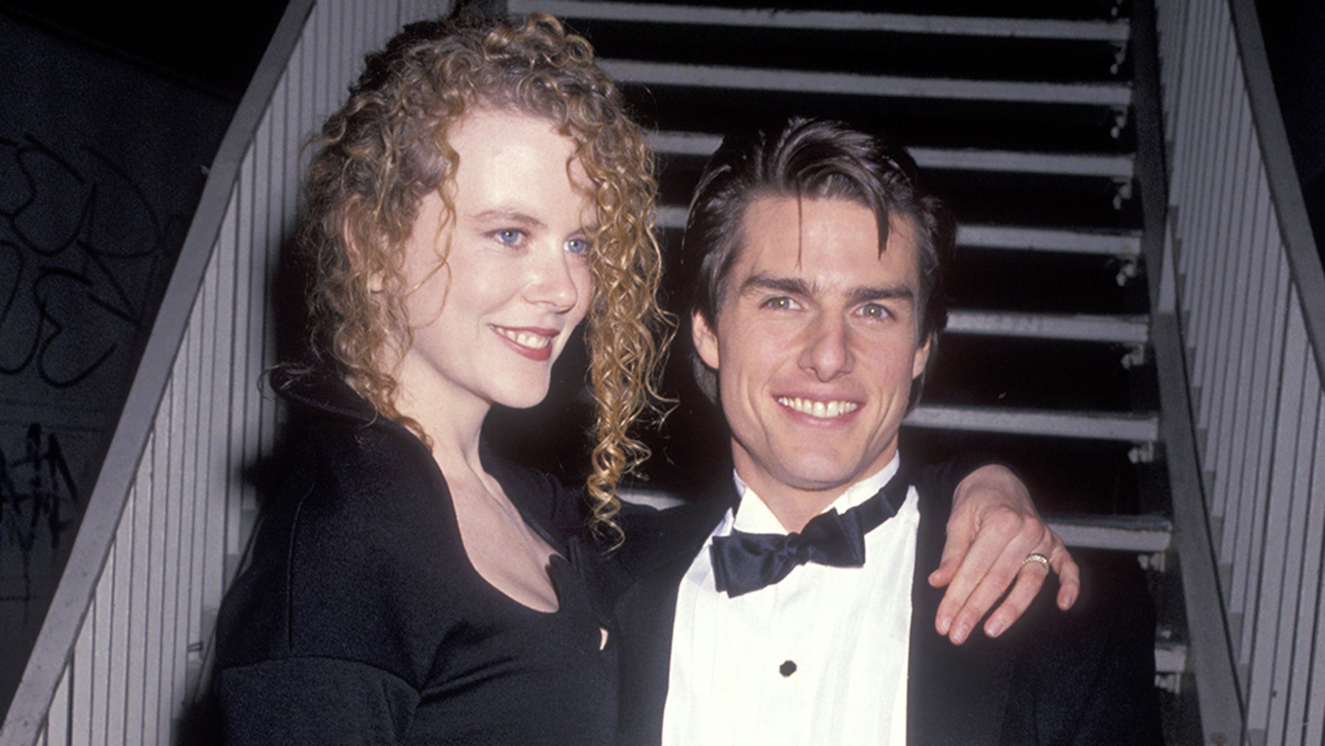 Nicole Kidman and Tom Cruise attend the 19th Annual American Film Institute (AFI) Lifetime Achievement Award Salute to Kirk Douglas on March 7, 1991 at Beverly Hilton Hotel in Beverly Hills, California.