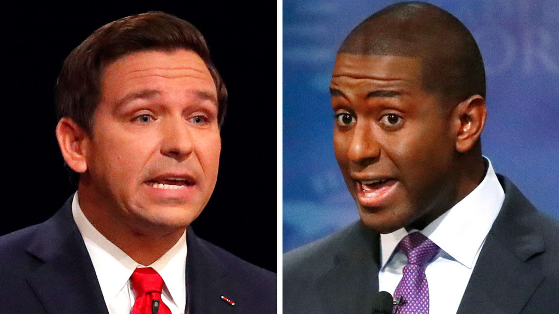 Former Republican Rep. Ron DeSantis and Tallahassee Mayor Andrew Gillum during their second and final debate at Broward College in Davie, Florida, on Wednesday.