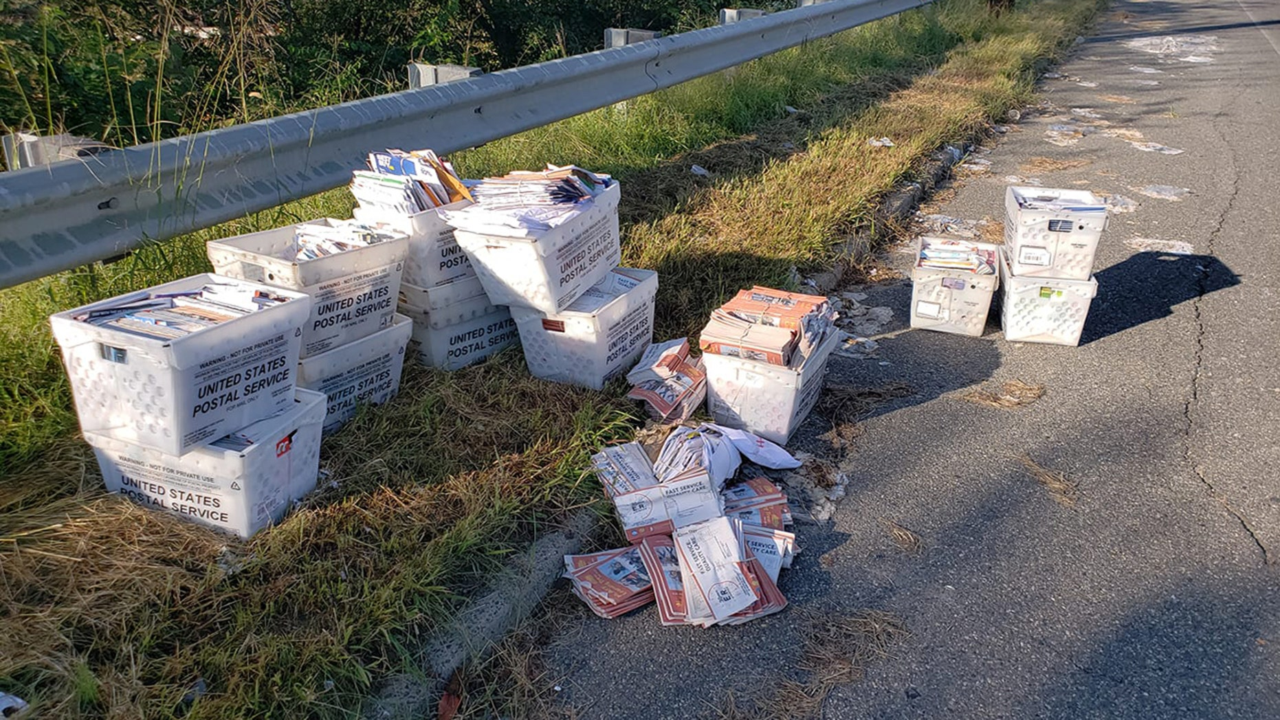 A photo of mail dumped on the side of a road in South New Jersey went viral.