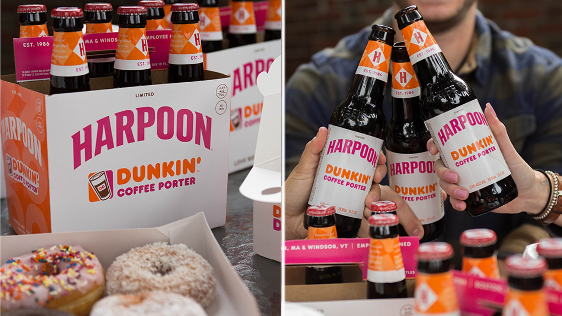 """Harpoon Brewery and Dunkin' are serving up customers a fresh way """"to toast the start of fall"""" – with their newly-released coffee porter."""
