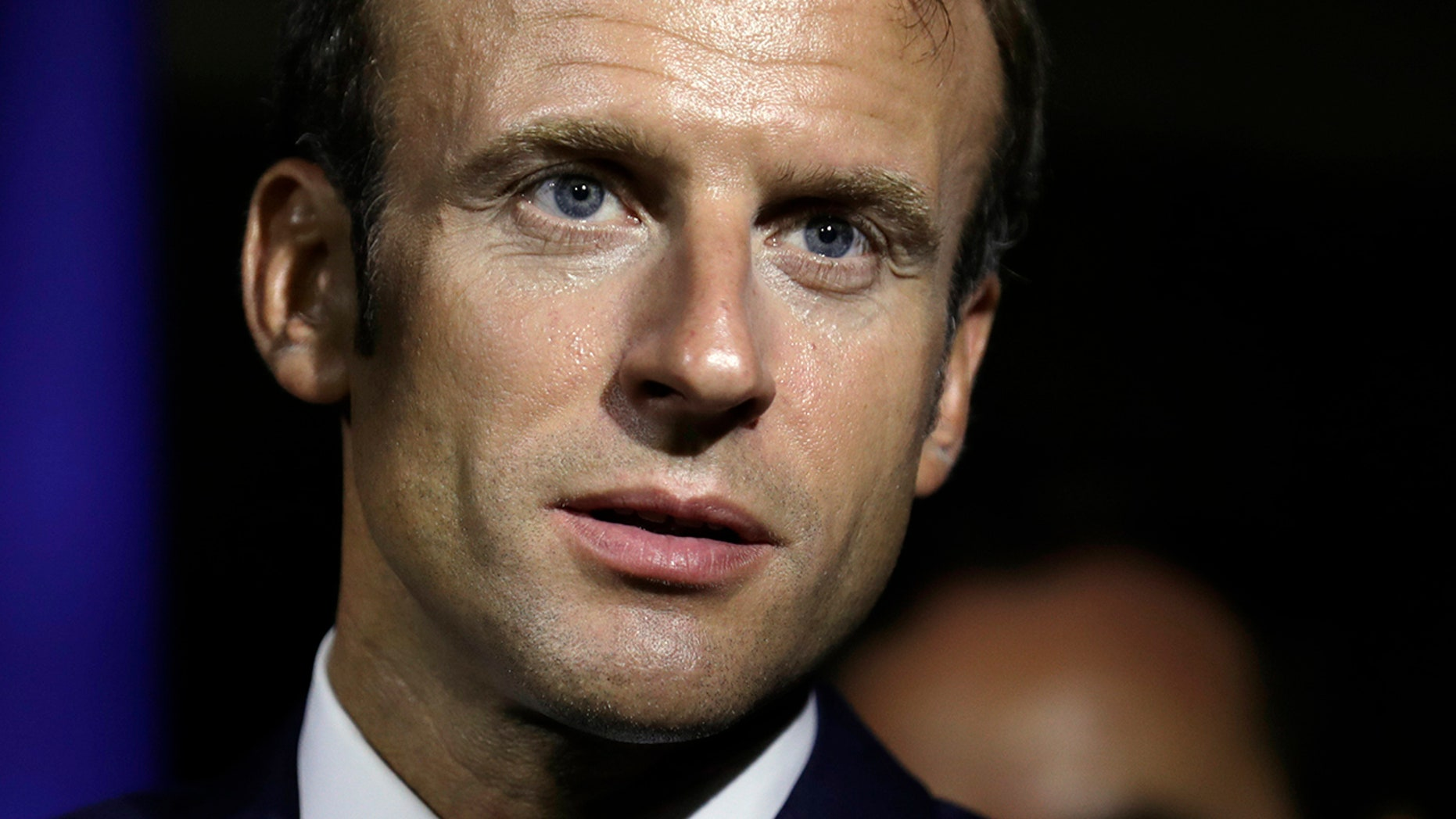 French President Emmanuel Macron speaks during his visit to Goyave on the Guadeloupe island, Friday Sept. 28, 2018, during a trip in the French West Indies.