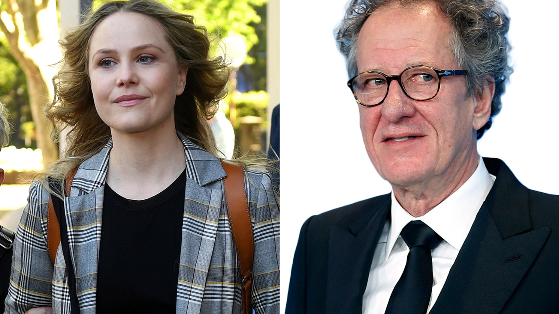 Actress Eryn Jean Norvill, left, leaves the Federal Court in Sydney, Australia, Tuesday, Oct. 30, 2018, after giving evidence during a defamation trial brought on by fellow actor Geoffrey Rush, right.