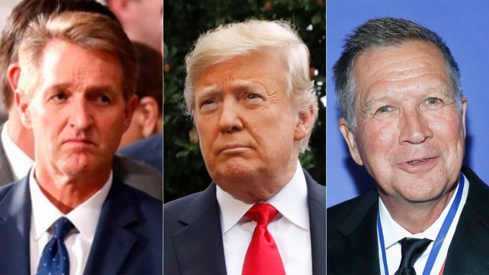 Jeff Flake, left, and John Kasich, right, have both made visits this year to New Hampshire, amid speculation about a possible Trump primary challenge.