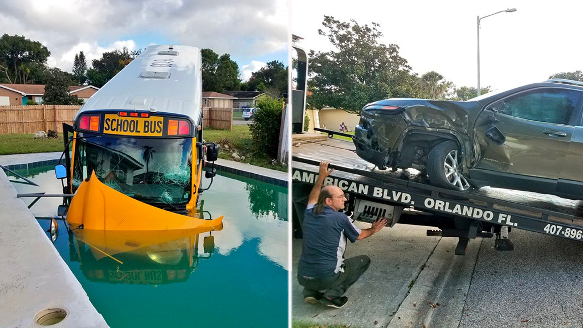 Florida authorities reported to the scene of a crash Friday morning between a Jeep and a school bus, the latter of which ended up nose-first in a swimming pool, officials said.