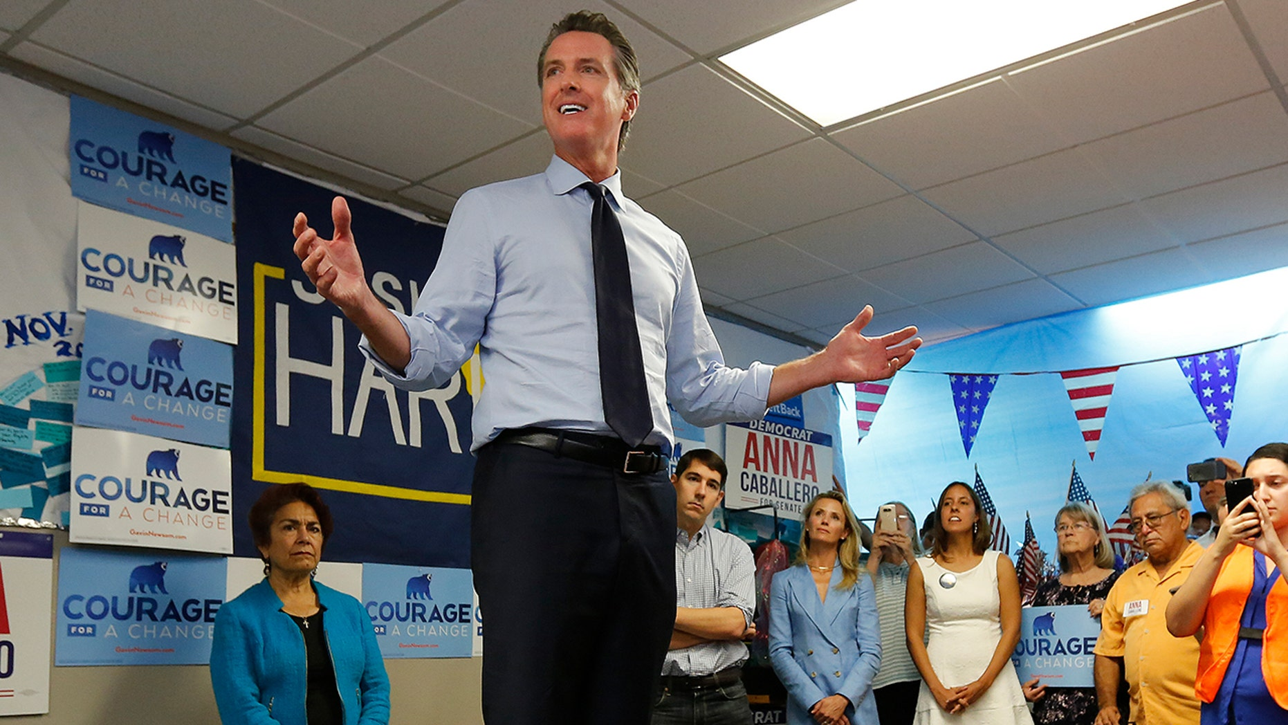 FILE:California gubernatorial candidate. Lt. Gov. Gavin Newsom, a Democrat, addresses supporters during a stop in Modesto, Calif.
