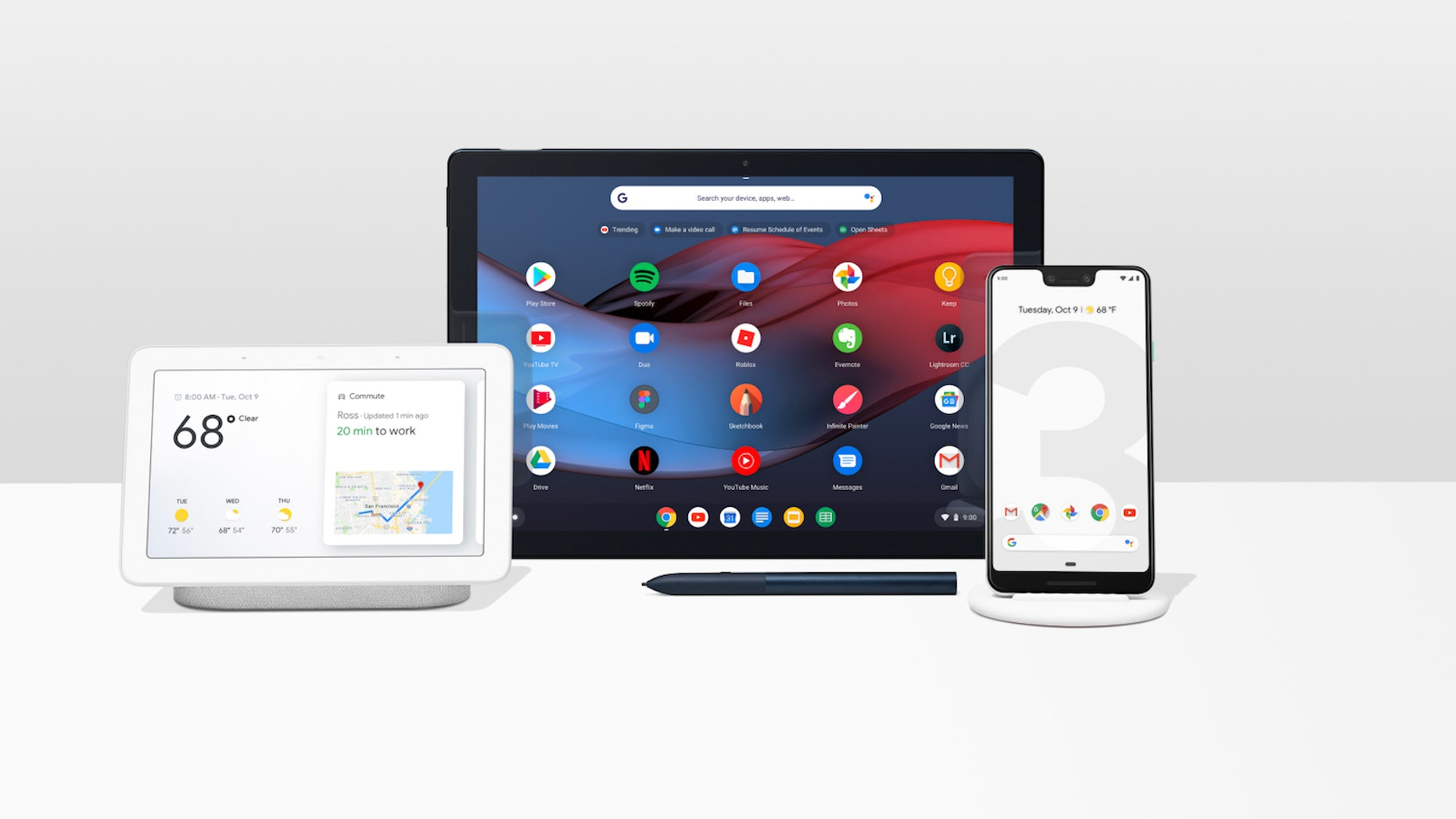 From left - the Google HomeHub, Pixel Slate tablet and Pixel 3 phone.