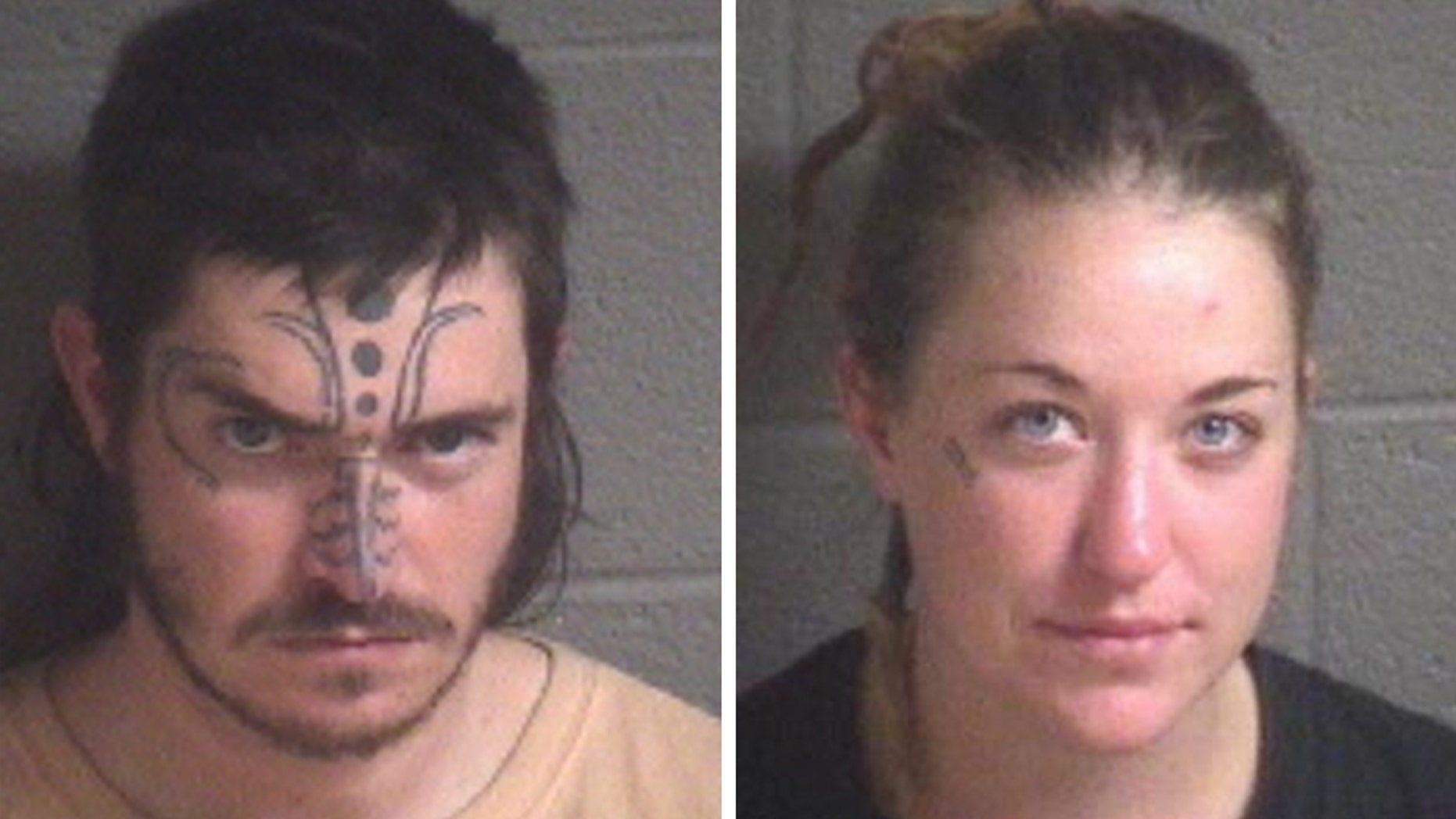 """Jace Greene, left, and Shariah Metzger, right, were charged with the """"improper burial of an animal"""" in Asheville, North Carolina."""