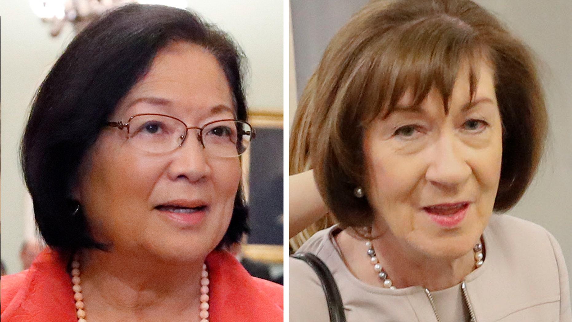 Sen. Mazie Hirono, left, said Sen. Susan Collins' reasoning for supporting Brett Kavanaugh's Supreme Court nomination was 'insulting.'