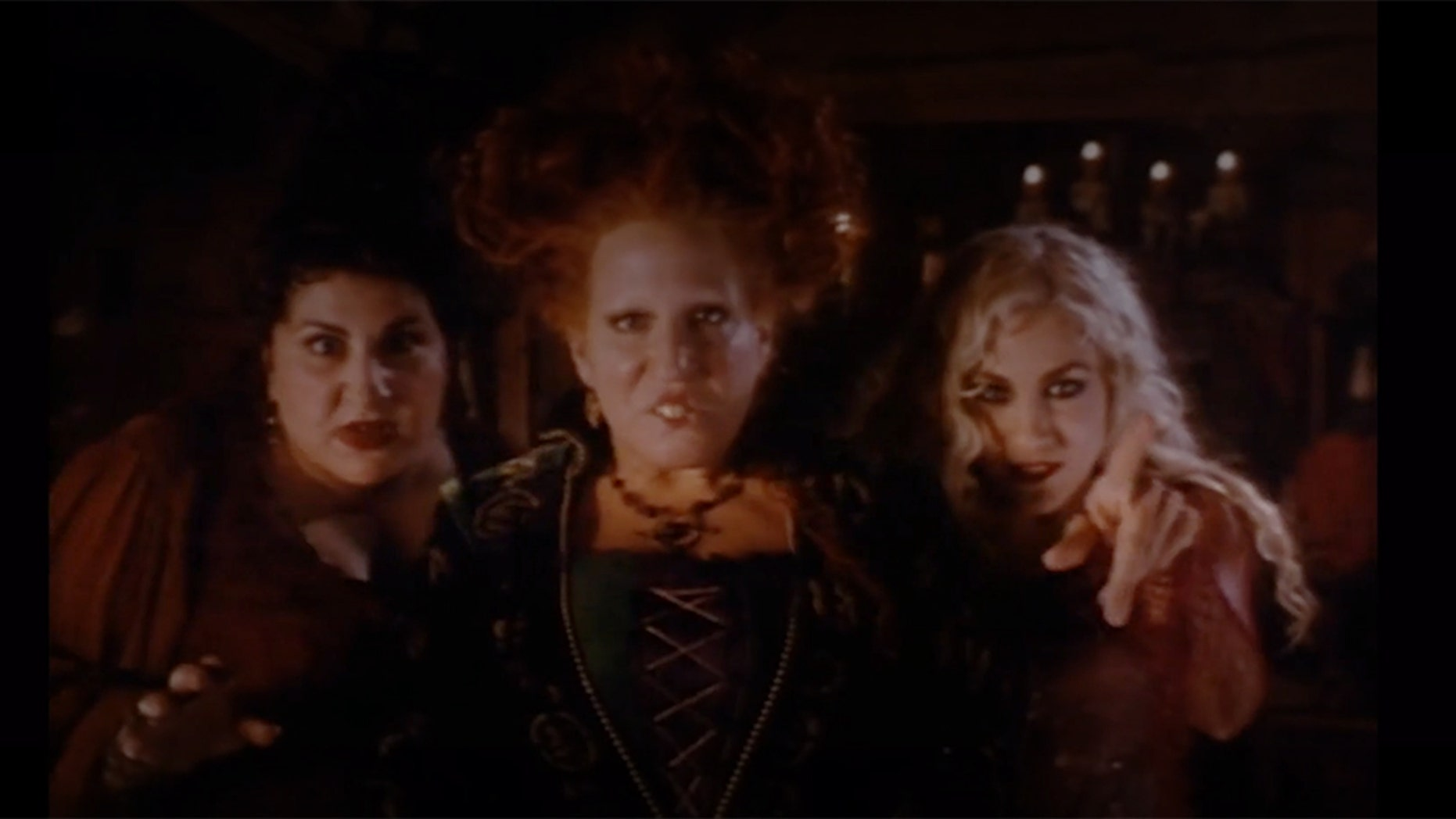 "Kathy Nahimy, Bette Midler and Sarah Jessica Parker in the 1993 Disney production ""Hocus Pocus."""