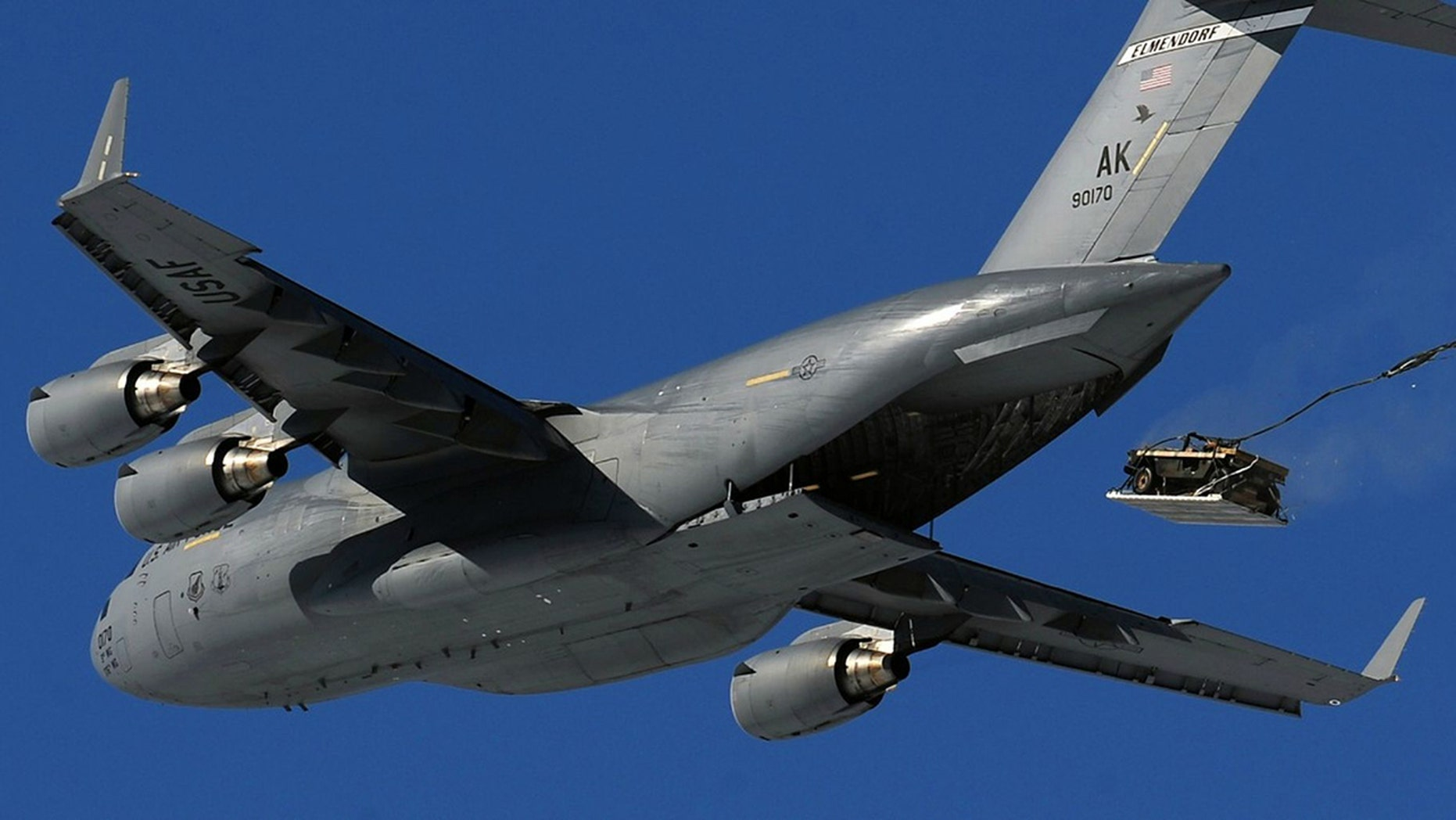 Military officials say an Air Force C-17 prematurely dropped a Humvee by parachute into rural North Carolina, miles from the intended target, but no injuries were reported on the ground.