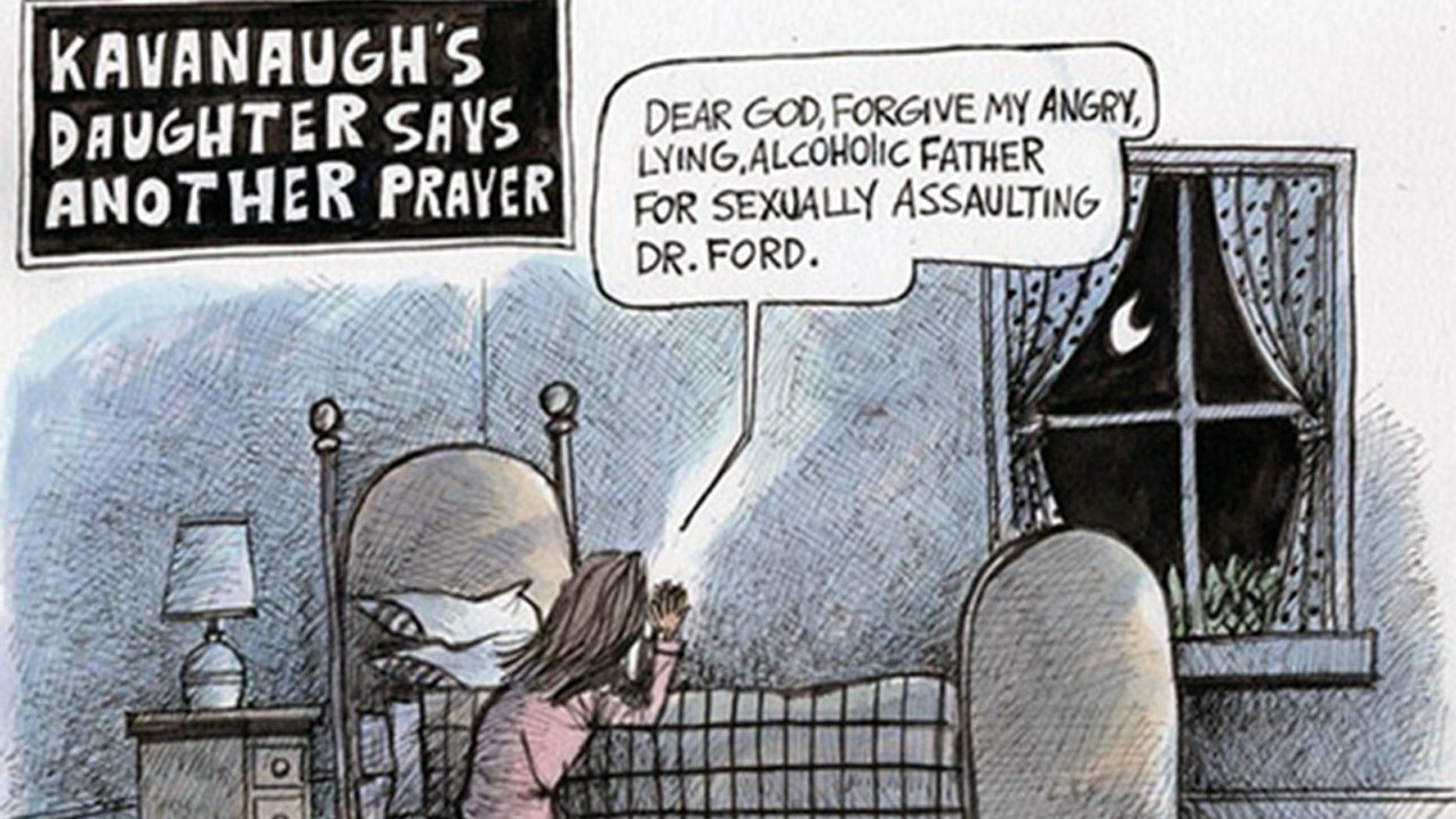 A controversial cartoon depicts Brett Kavanaugh's daughter, Liza, saying her prayers.