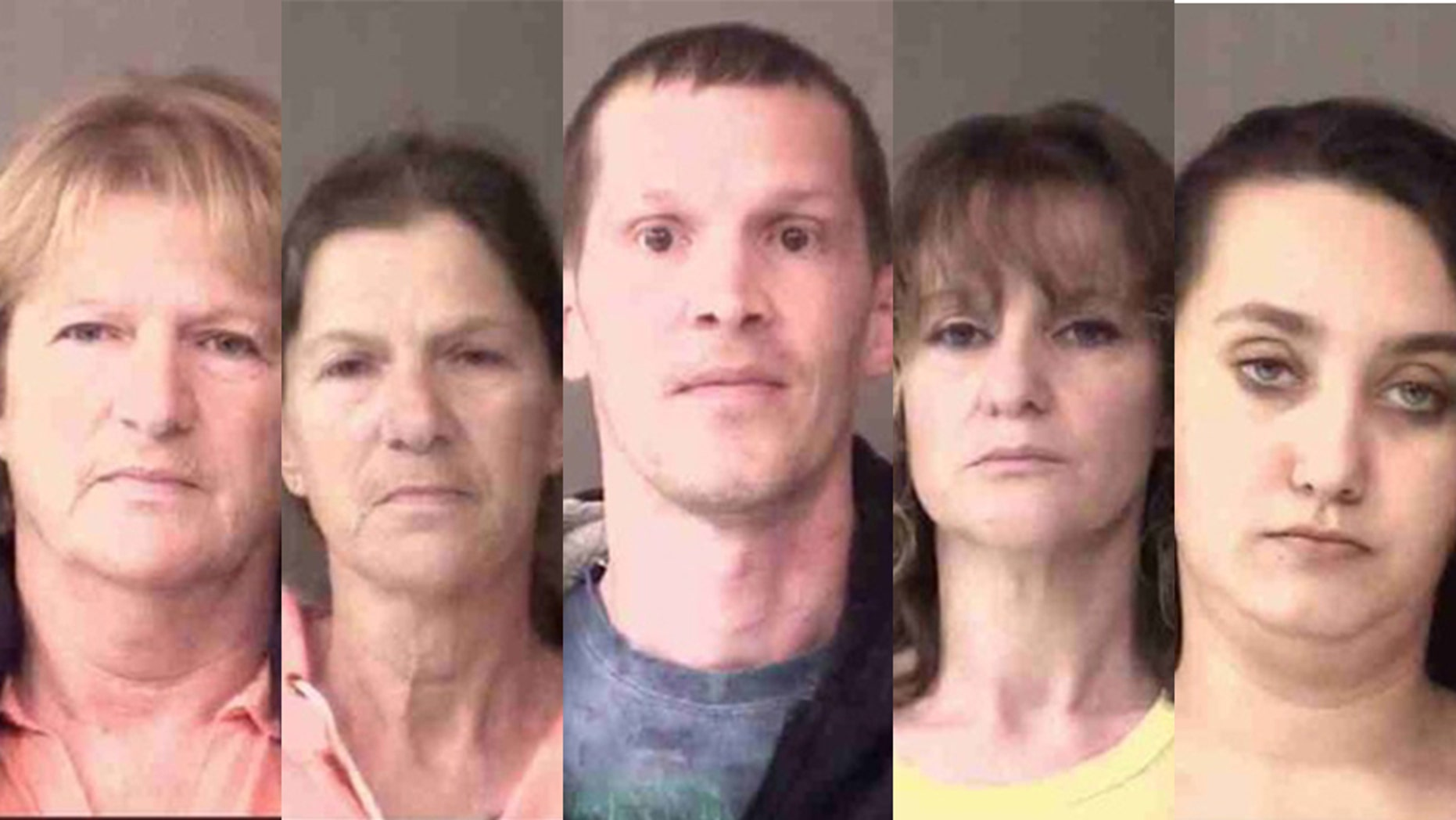 Police in Indiana charged, from left, Annette Priestly, Fayette Robinette, Travis Tillotson, Jammy Stacy and Rune Springer with felony neglect of a dependent after a boy was found injured and severely malnourished.