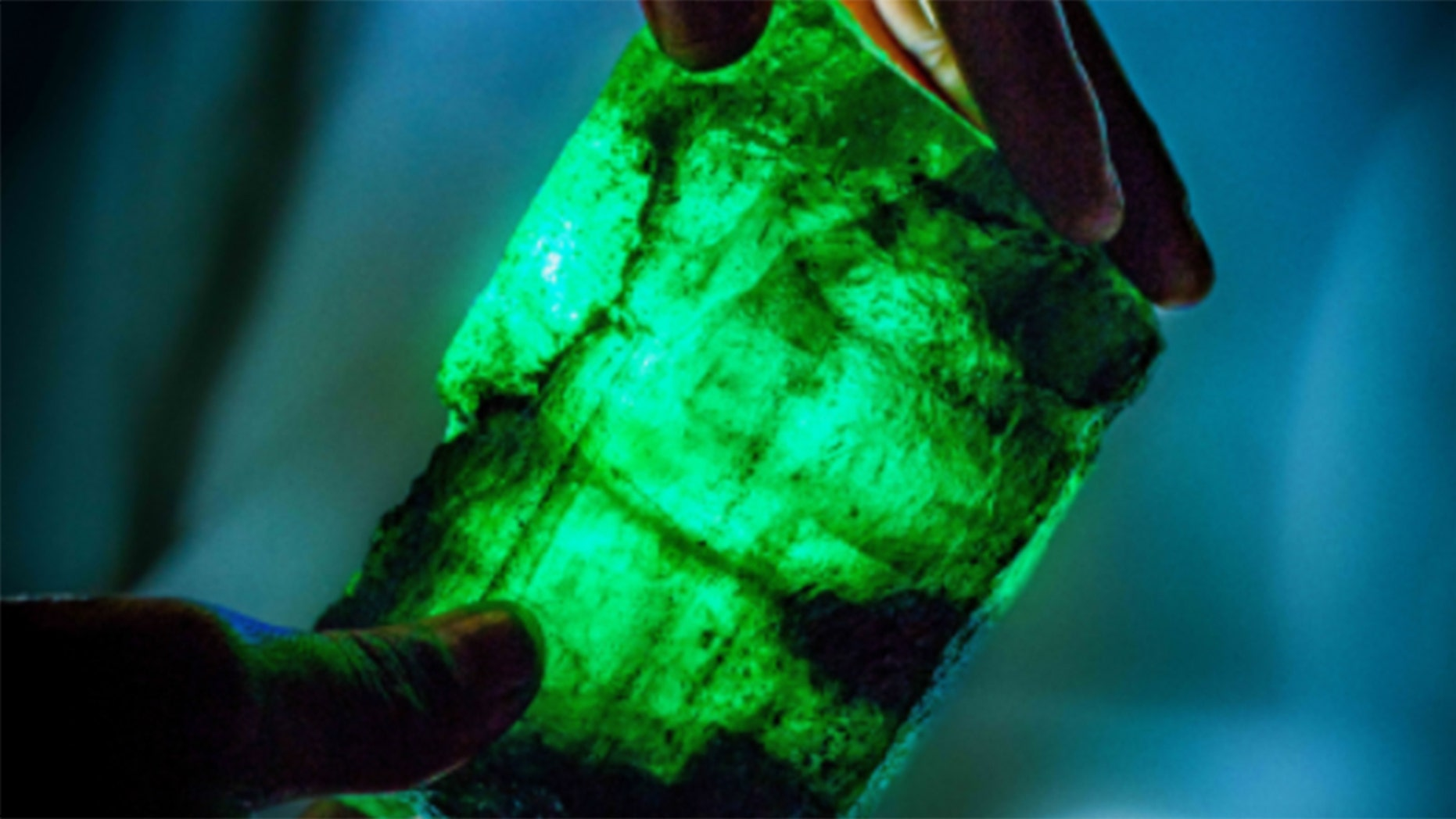Miners uncovered a large emerald crystal inside the world's largest emerald mine in Zambia on Oct. 2, 2018.