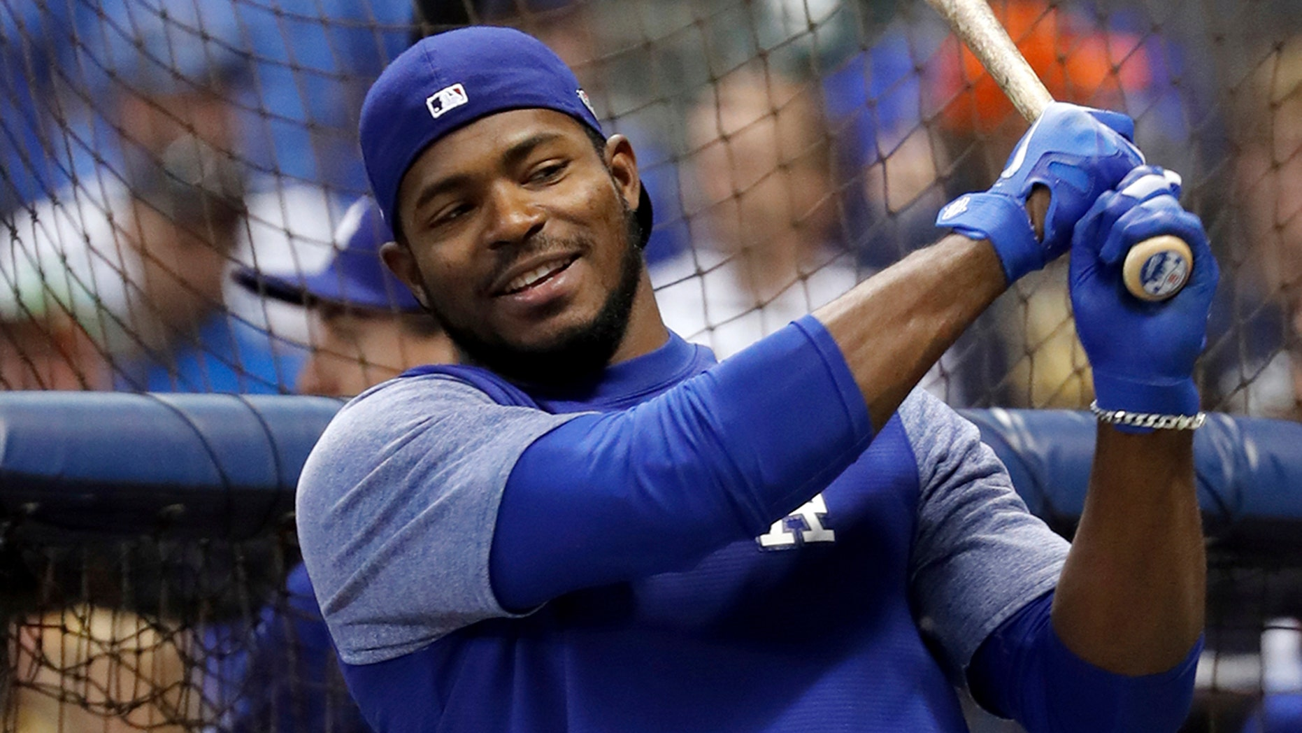 Los Angeles Dodgers' Yasiel Puig takes batting use before Game 6 of a National League Championship Series ball diversion opposite a Milwaukee Brewers Friday, Oct. 19, 2018, in Milwaukee.