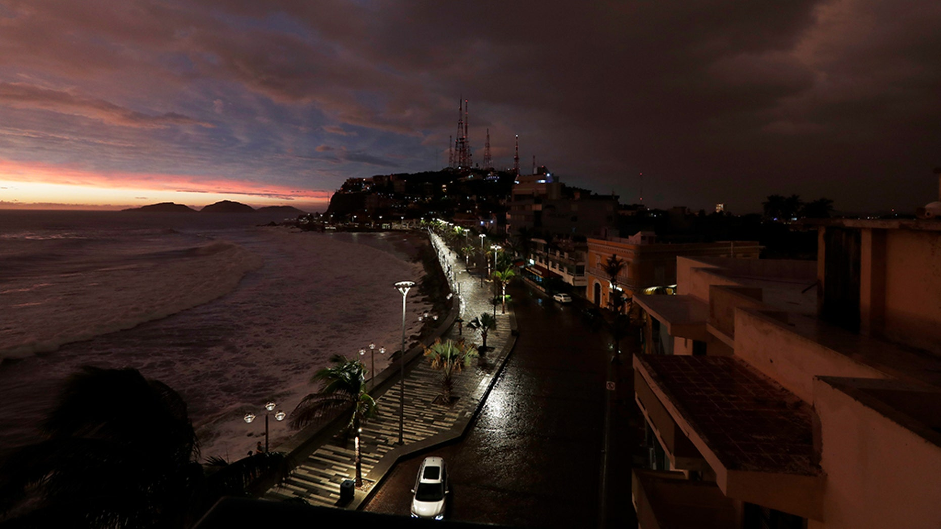 Oct. 23: The sun sets after Hurricane Willa made landfall in Mazatlan, Mexico. AP