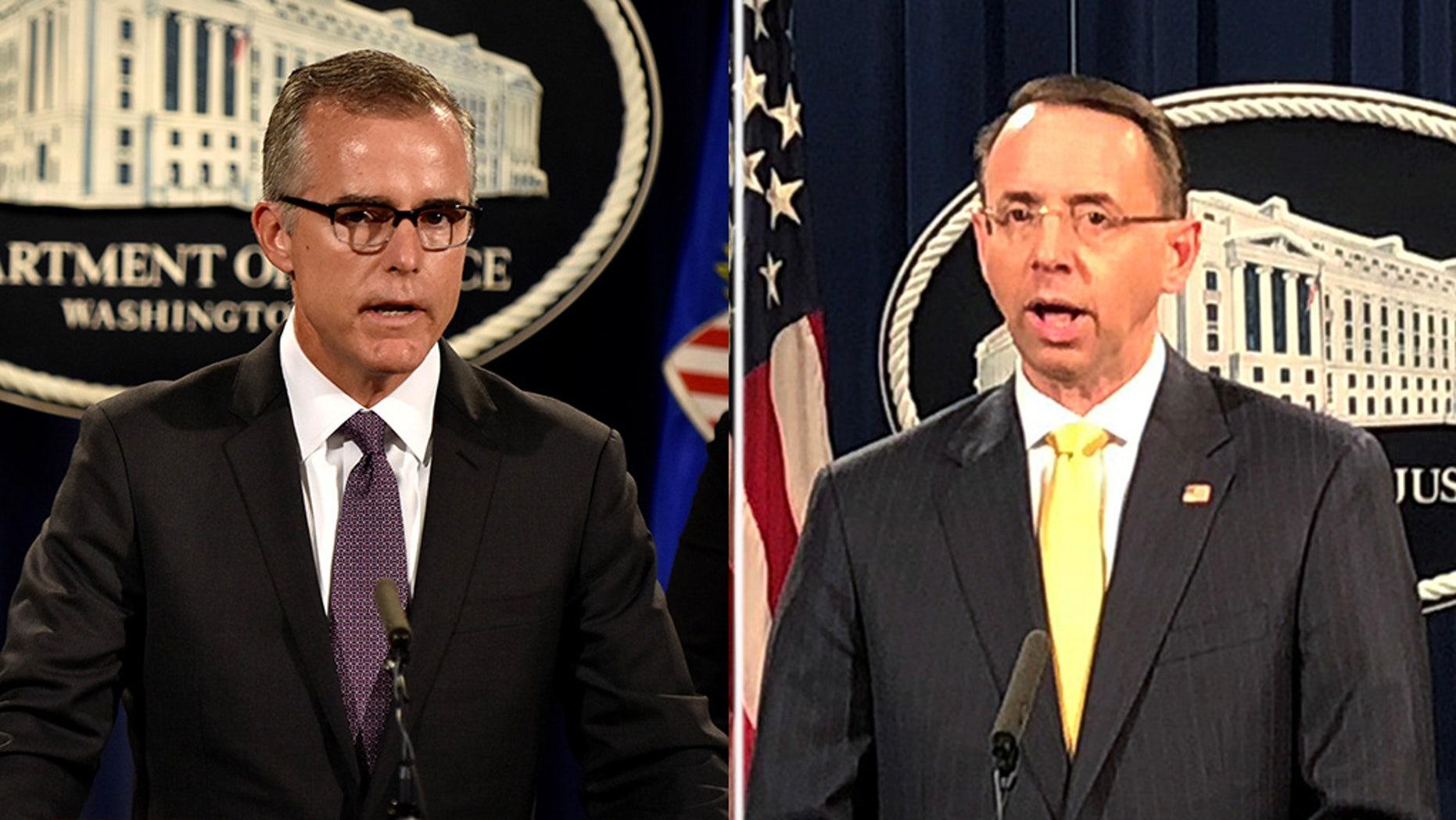 Former FBI Deputy Director Andrew McCabe and Deputy Attorney General Rod Rosenstein.