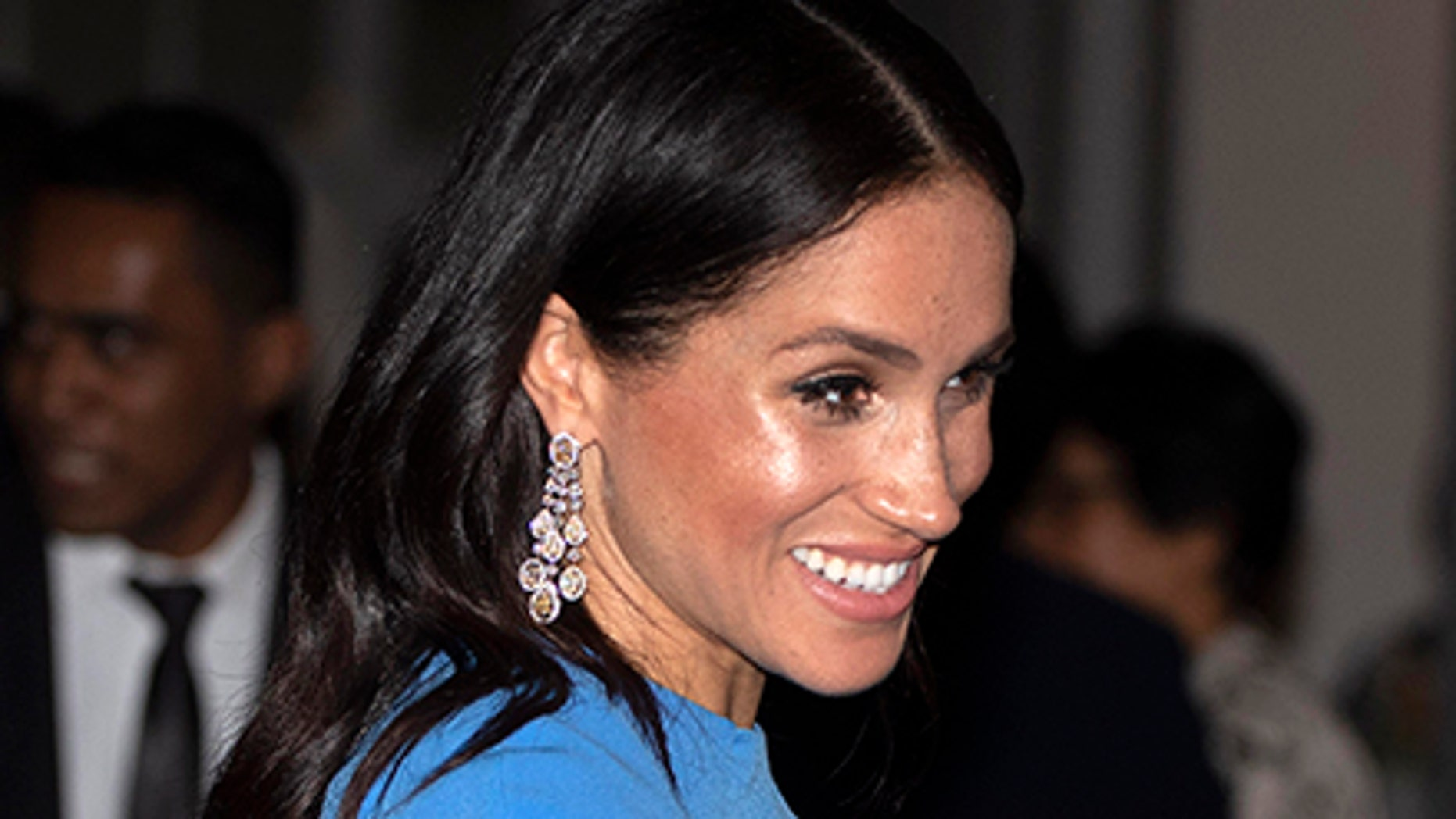 Meghan, Duchess of Sussex at the official dinner in Suva, Fiji, Tuesday, Oct. 23, 2018.
