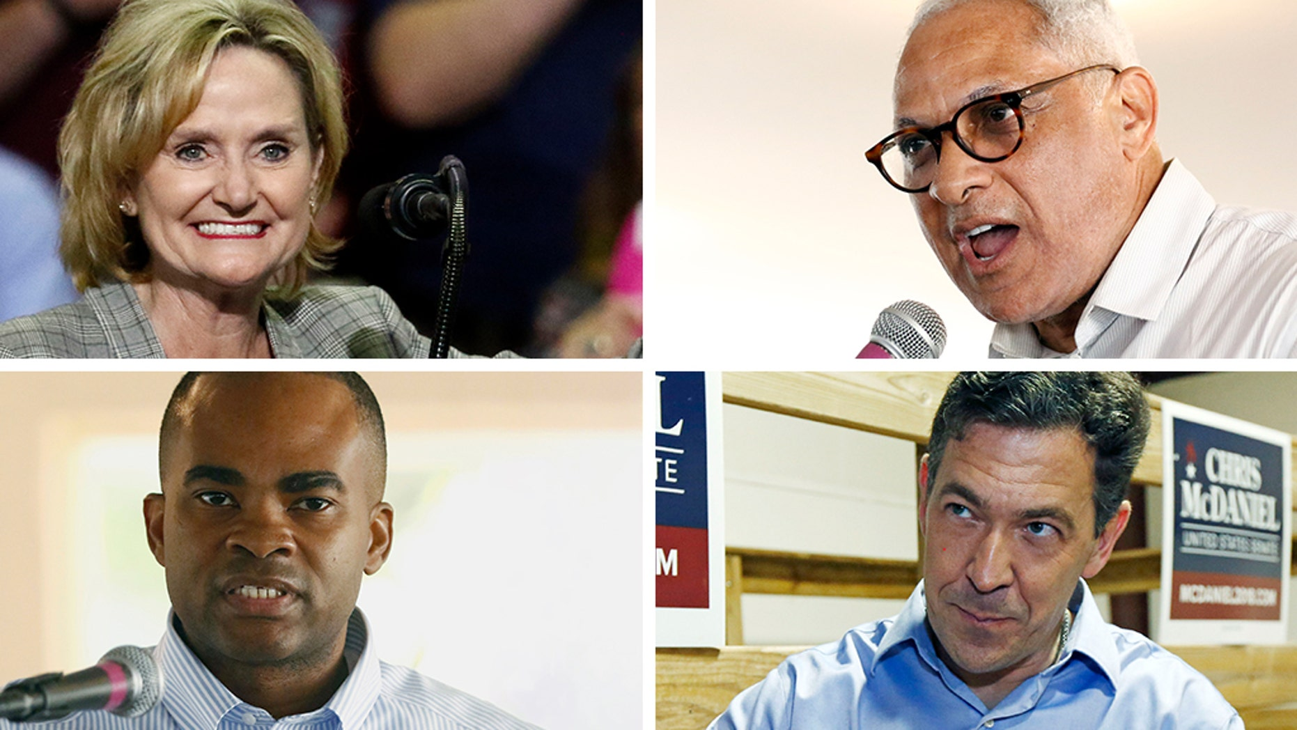 On Top U.S. Sen Cindy Hyde-Smith, R-Miss. (left) and Mike Espy, a former congressman and a former U.S. agriculture secretary. At the bottom Tobey Bernard Bartee and Chris McDaniel (AP)
