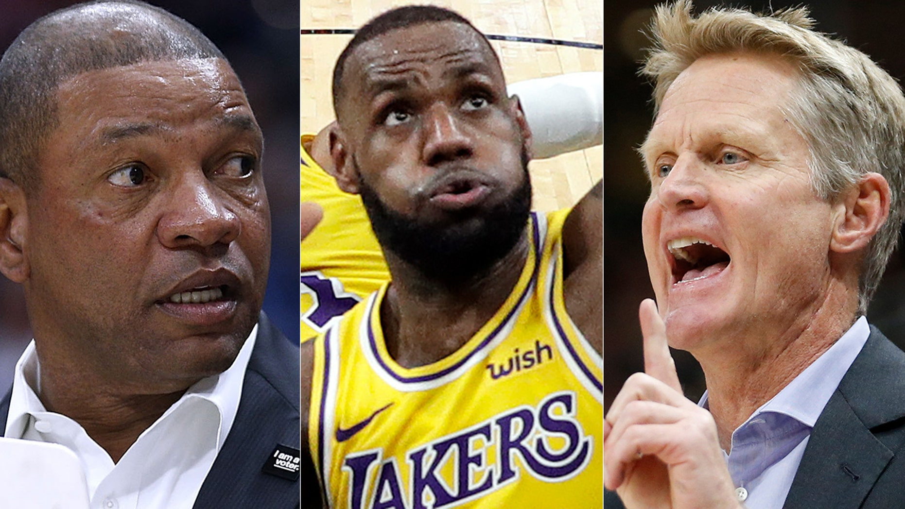 Doc Rivers, left, LeBron James, center, and Steve Kerr have been the top NBA voices to address political issues ahead of the midterms.