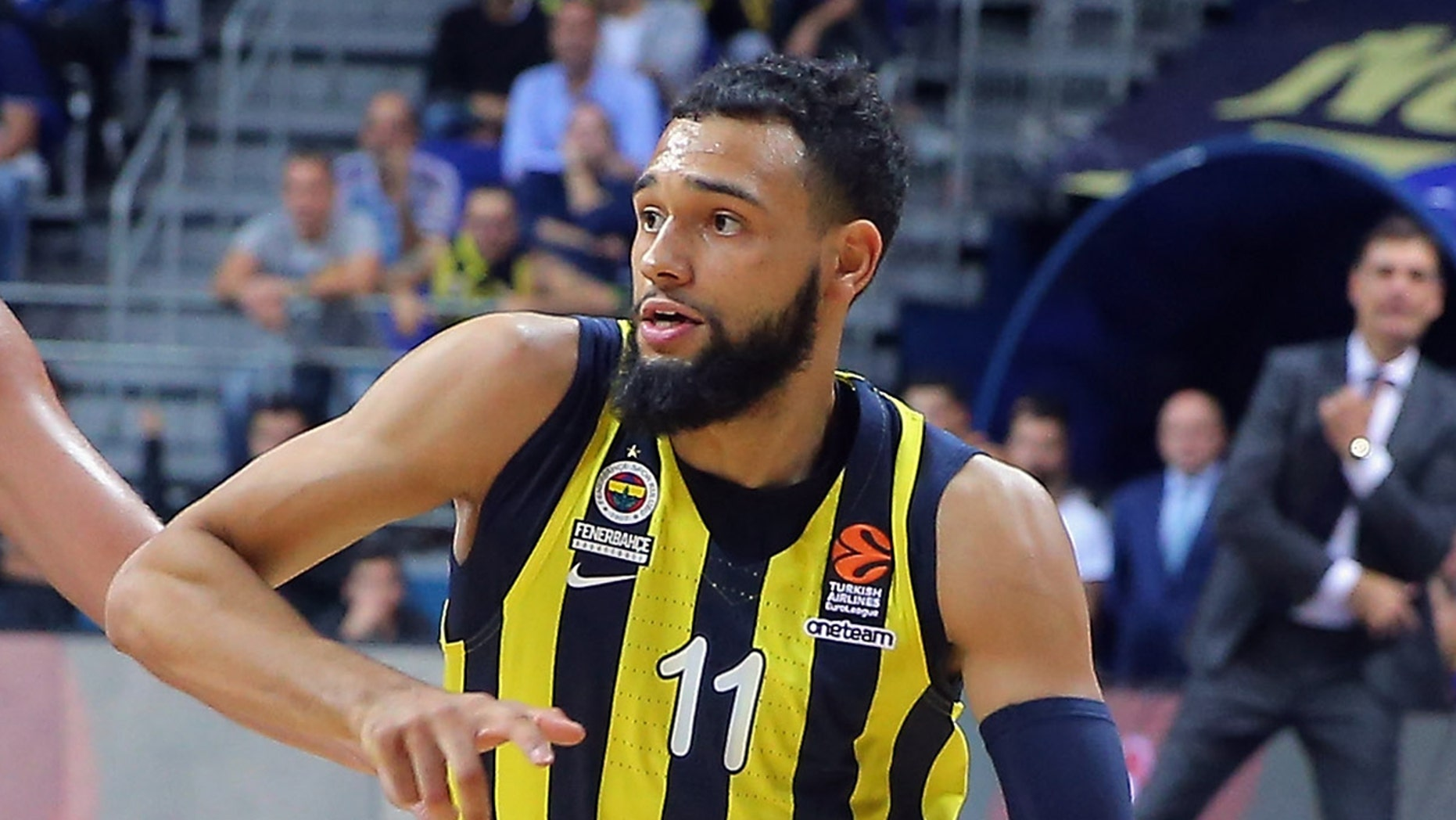 Tyler Ennis, #11 of Fenerbahce Istanbul in movement with Alexey Shved, #1 of Khimki Moscow during a 2018/2019 Turkish Airlines EuroLeague.