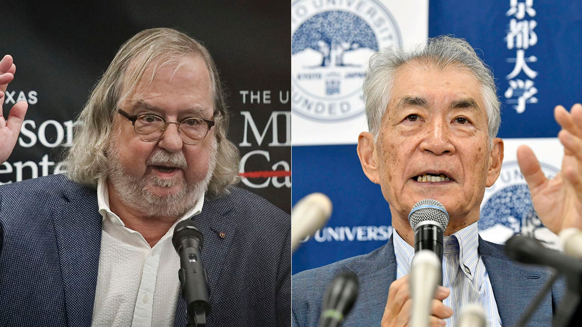 James Allison of the University of Texas and Tasuku Honjo of Kyoto University will share the 9-million-kronor ($1.01 million) prize for 2018.