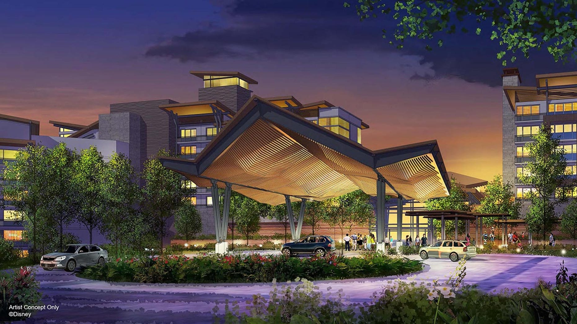 Located on Bay Lake between Disney's Wilderness Lodge and Disney's Fort Wilderness Resort & Campground, the resort will feature designs inspired by its natural surroundings.