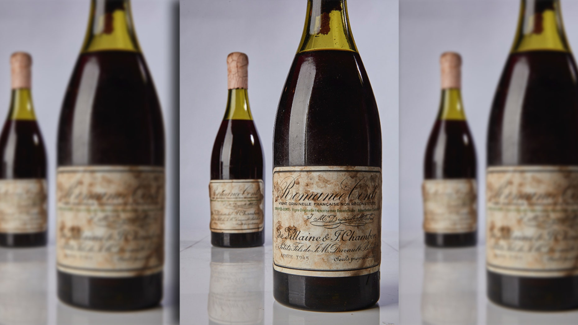 Five rare bottles of French wine sold for record amounts at auction Saturday.