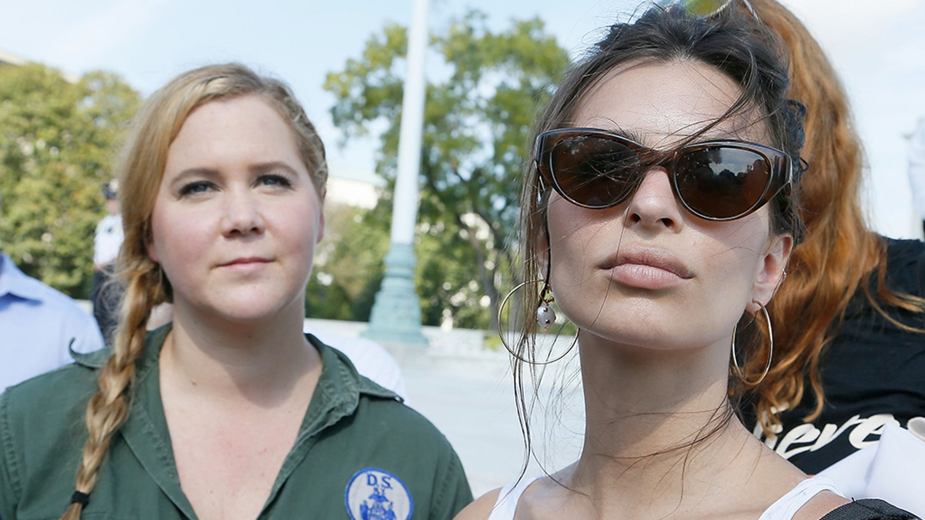 Amy Schumer, left, and Emily Ratajkowski were detained while protesting the Supreme Court nomination of Brett Kavanaugh in Washington, D.C., on Thursday.
