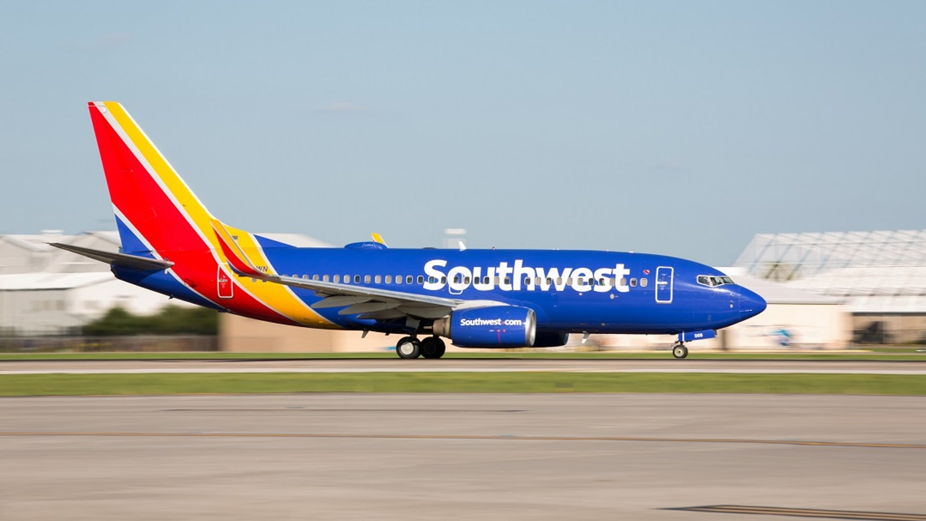 A Southwest airliner takes off.