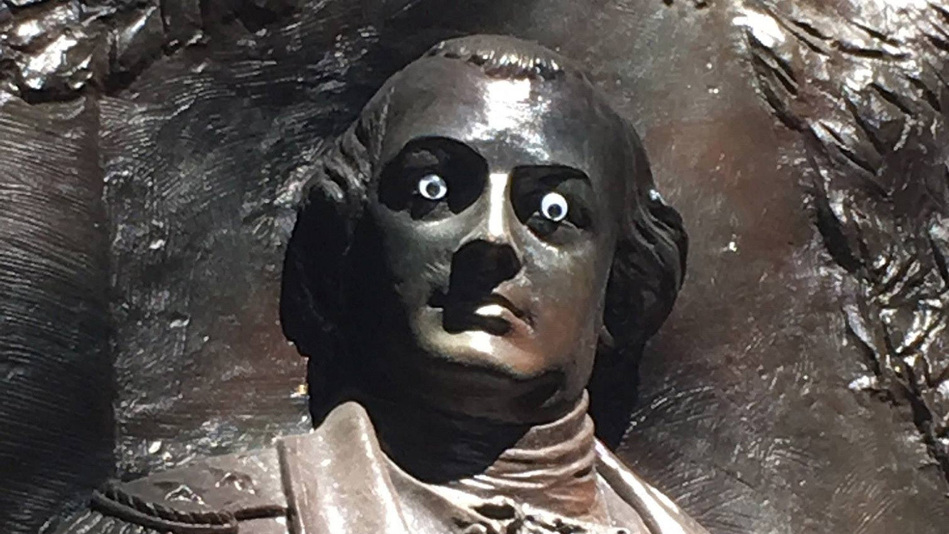 "Someone has put ""googly eyes"" on a statue of Revolutionary War General Nathanael Greene in Savannah's Johnson Square."