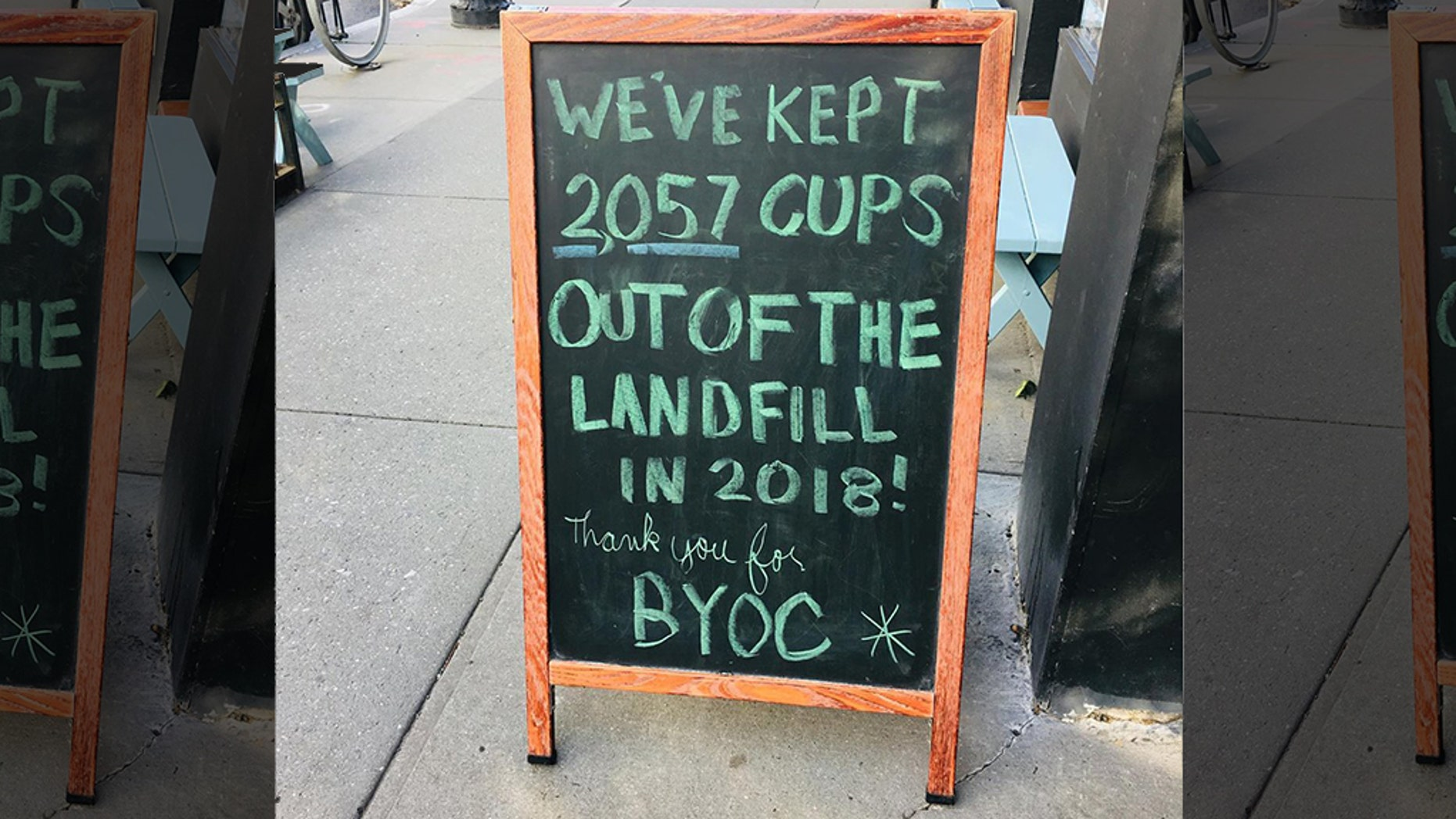 The Sanitation Department fined a coffee shop $300 for a sign that says how many cups they've kept out of the landfill.