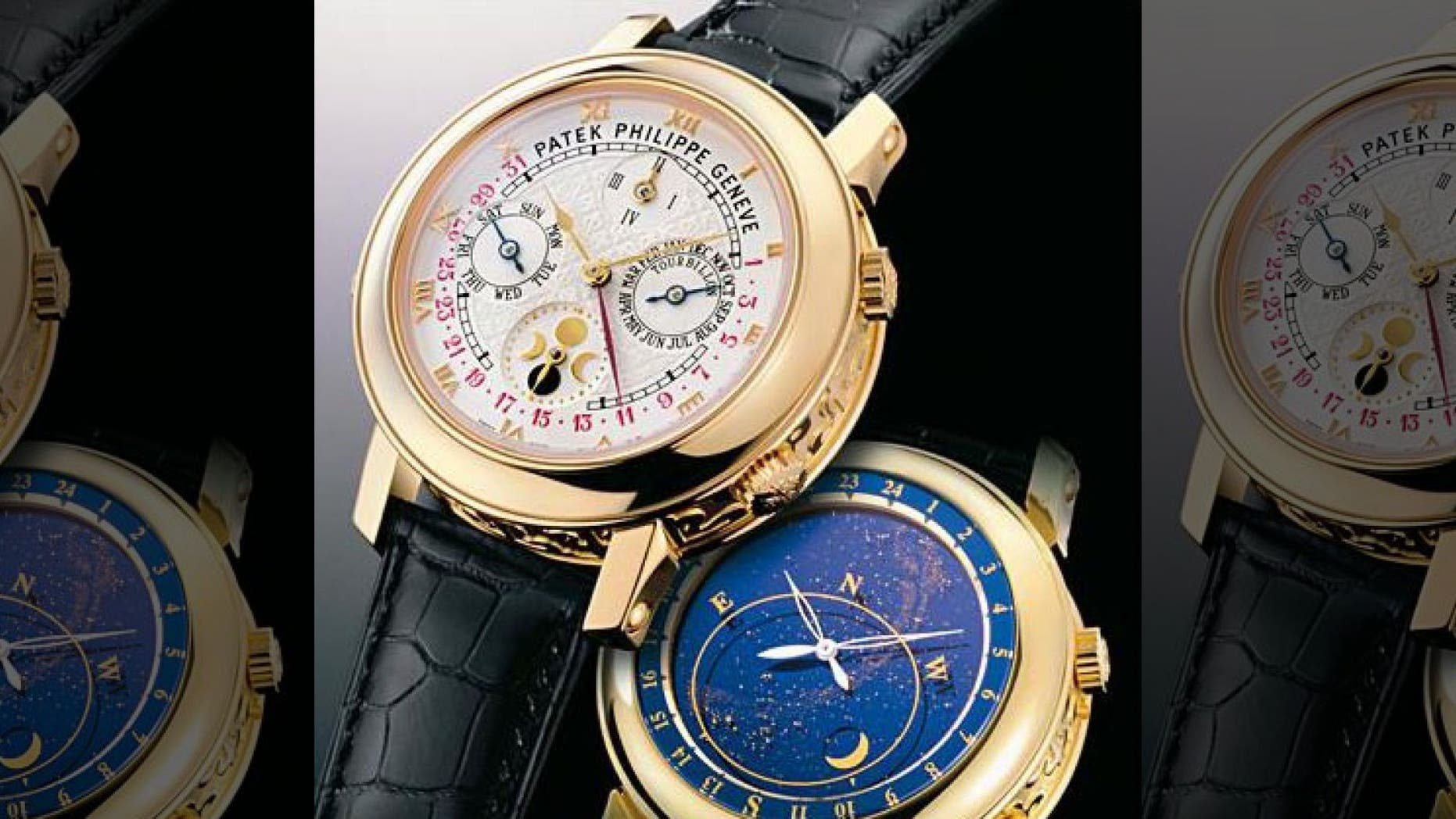 Authorities are searching for men who reportedly stole a $95,000 Patek Philippe watch, similar to the ones seen here.