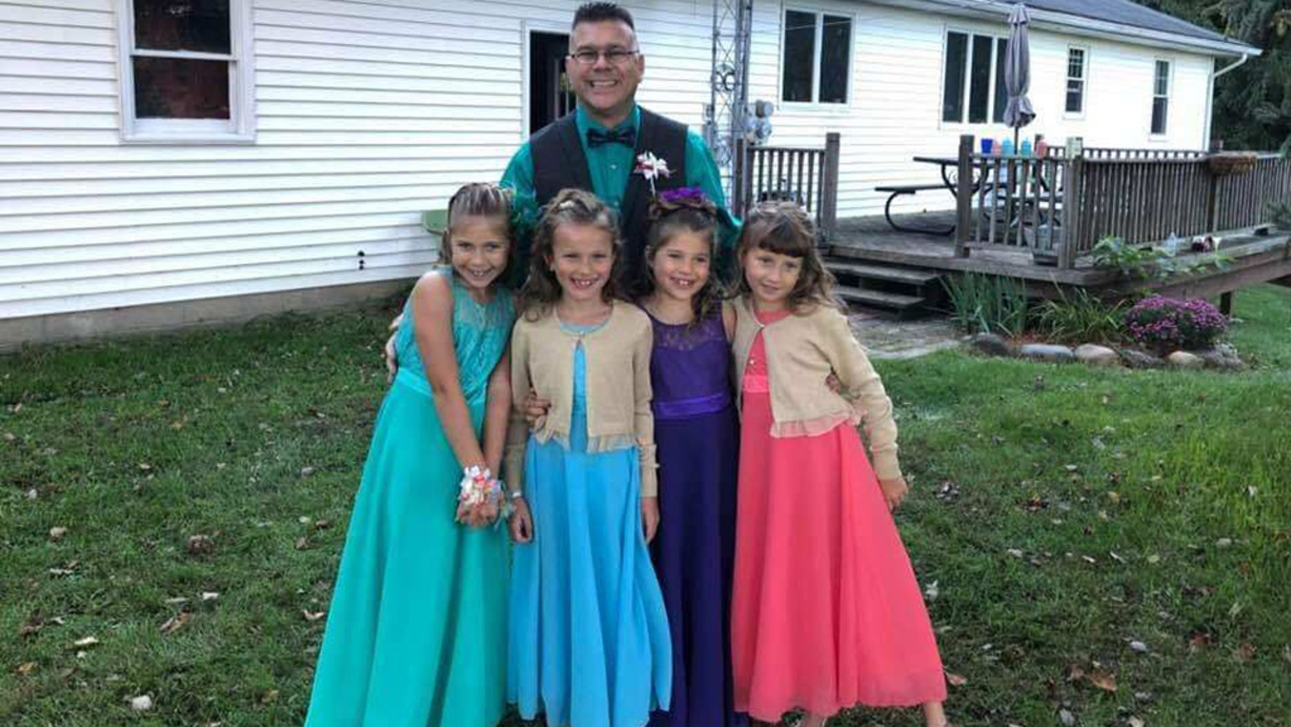 Steve Culbert heads to the dance with his two daughters and Avery and Alivia Reece. Left to right Hailey Culbert, Avery Reece, Aliyah Culbert and Alivia Reece
