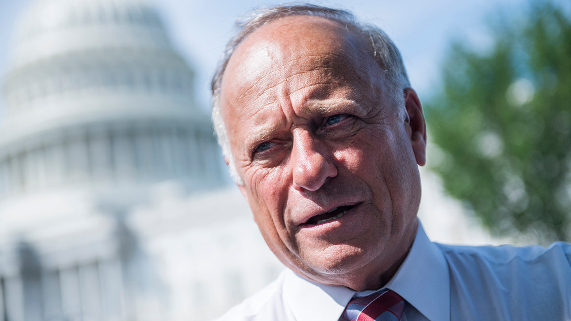 Rep. Steve King, R-Iowa, attends a rally with Angel Families on the East Front of the Capitol to highlight crimes committed by undocumented immigrants in the U.S., on September 7, 2018. (Photo By Tom Williams/CQ Roll Call)