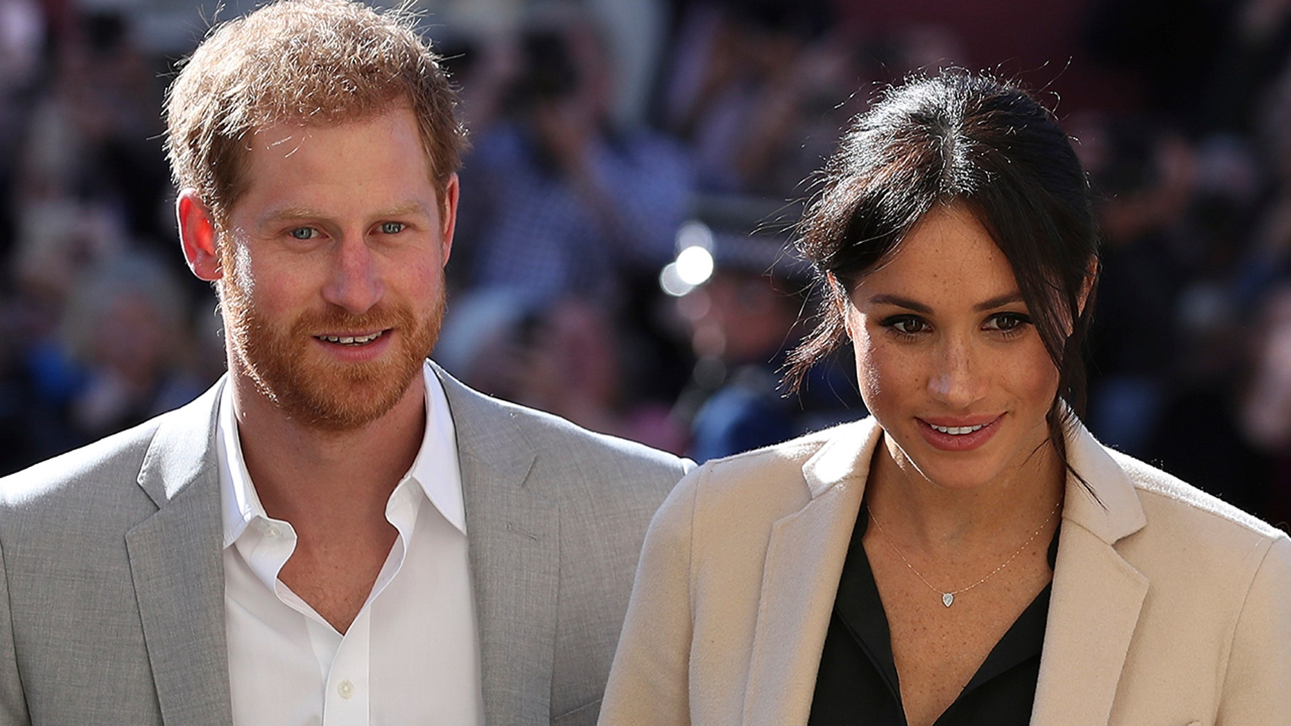 Britain's Prince Harry and Meghan, the Duchess of Sussex greet well wishers during their visit to Chichester, south east England, Wednesday Oct. 3, 2018. The Duke and Duchess of Sussex made their first joint official visit to Sussex.