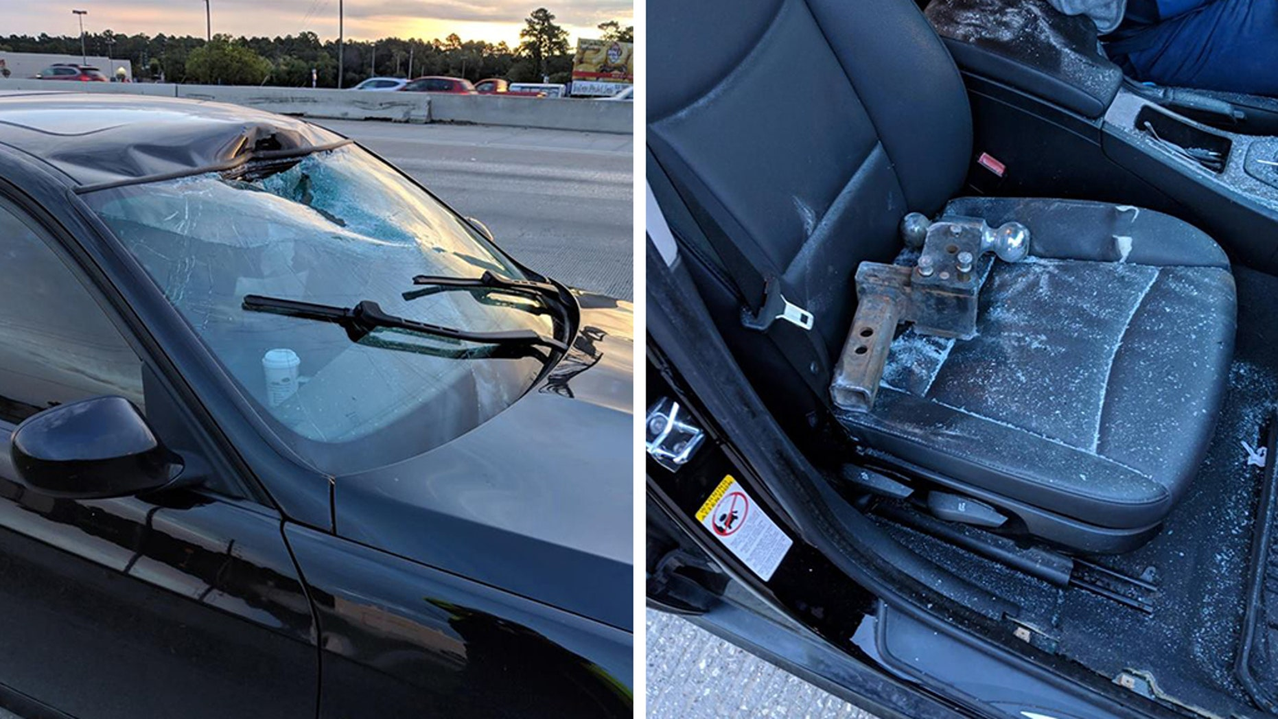 An unsecured tow hitch smashed through a driver's windshield Monday morning in Texas.