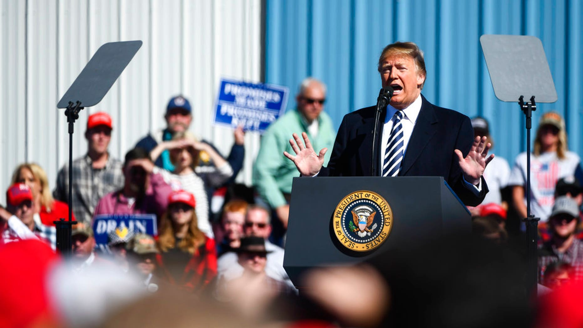 President Donald Trump speaks at a campaign rally in Elko, Nev. (AP Photo/Alex Goodlett)
