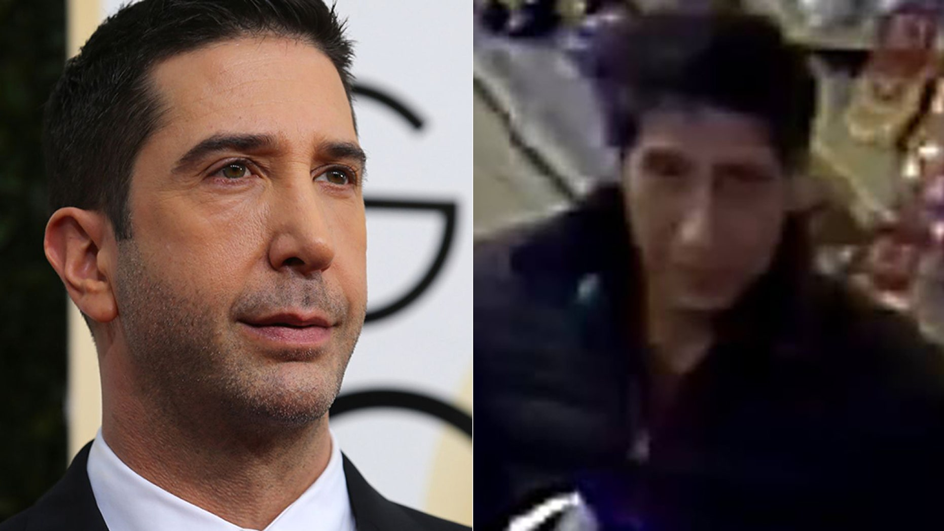 Police in England confirmed that David Schwimmer, on the left, was in the US at the time of theft and is not the suspect on the right.