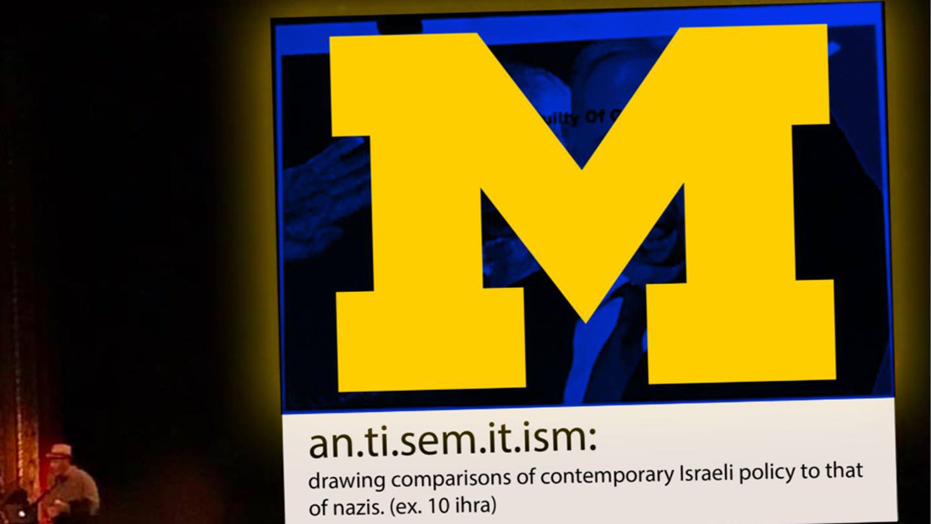 Alexa Smith, a student at the University of Michigan made the following graphic after having to sit through a mandatory art lecture that featured a slide comparing Israeli Prime Minister Benjamin Netanyahu to Adolf Hitler.