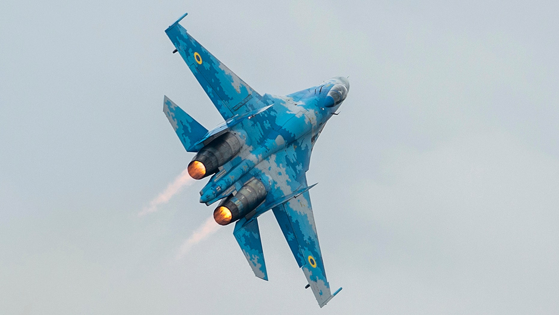 A Ukrainian Sukhoi Su-27 fighter jet is seen during an event last month. On Tuesday, an American pilot on board a similar aircraft was killed when it crashed during a military training in Ukraine.