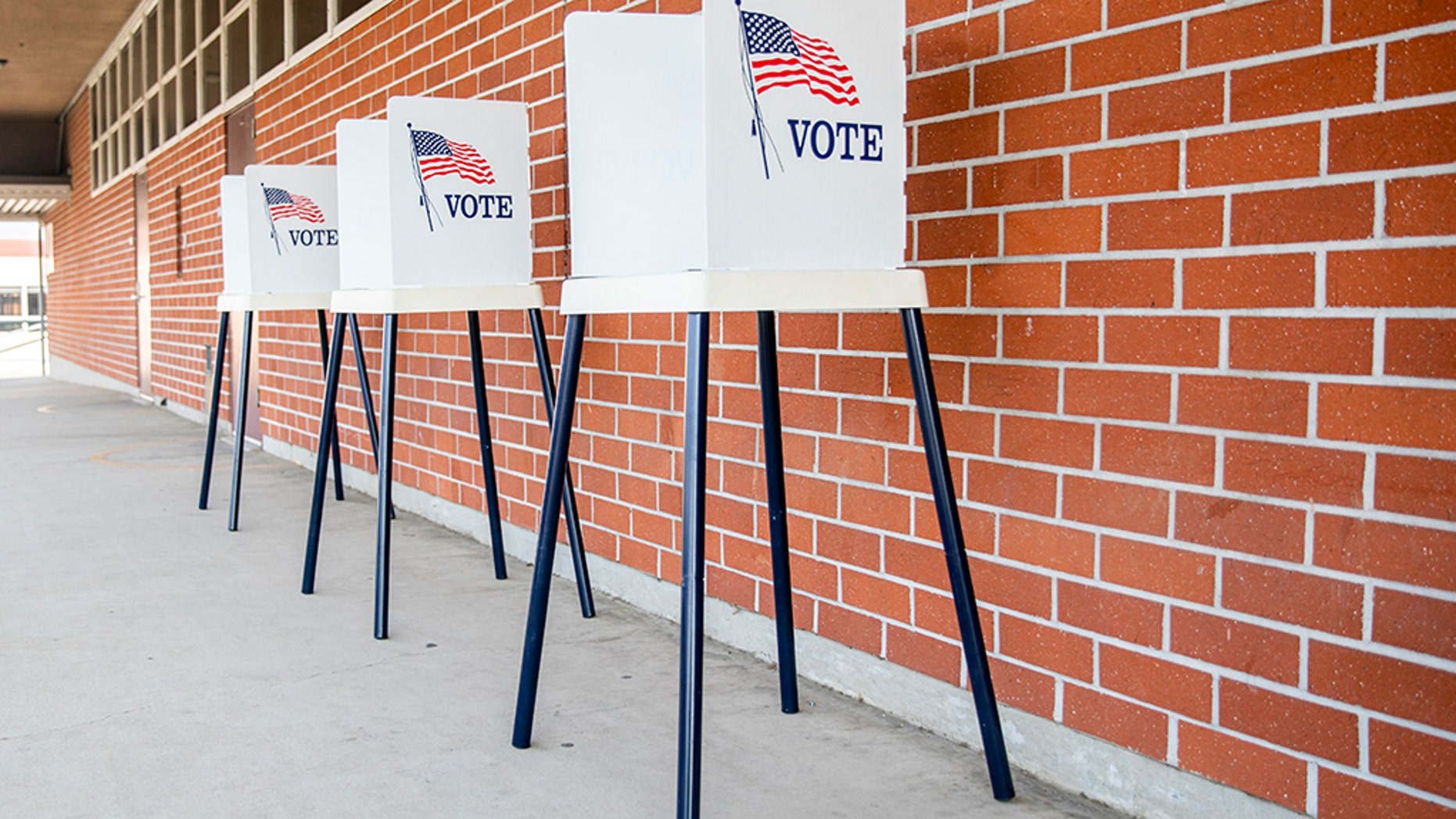 A polling location station is ready for the election day.