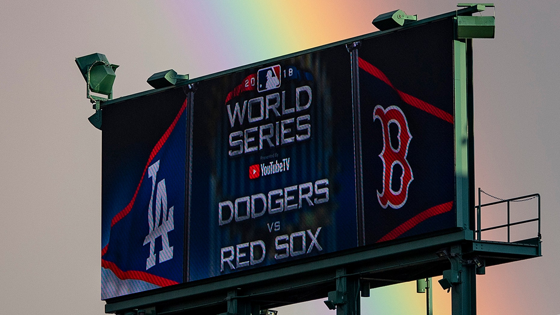 A rainbow forms over Fenway Park before game one of the 2018 World Series between the Boston Red Sox and the Los Angeles Dodgers on October 23, 2018 at Fenway Park in Boston, Massachusetts.