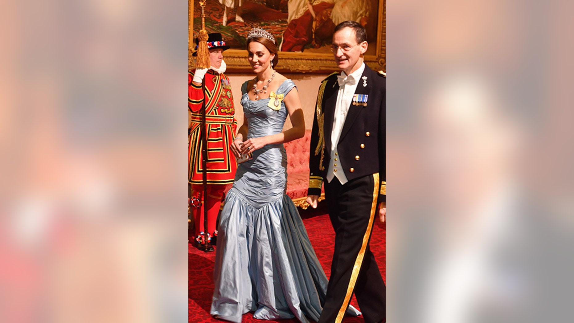 Catherine, Duchess of Cambridge was slammed on social media for her evening gown during a state banquet at Buckingham Palace on Oct. 23, 2018. (John Stillwell - WPA Pool/Getty Images)